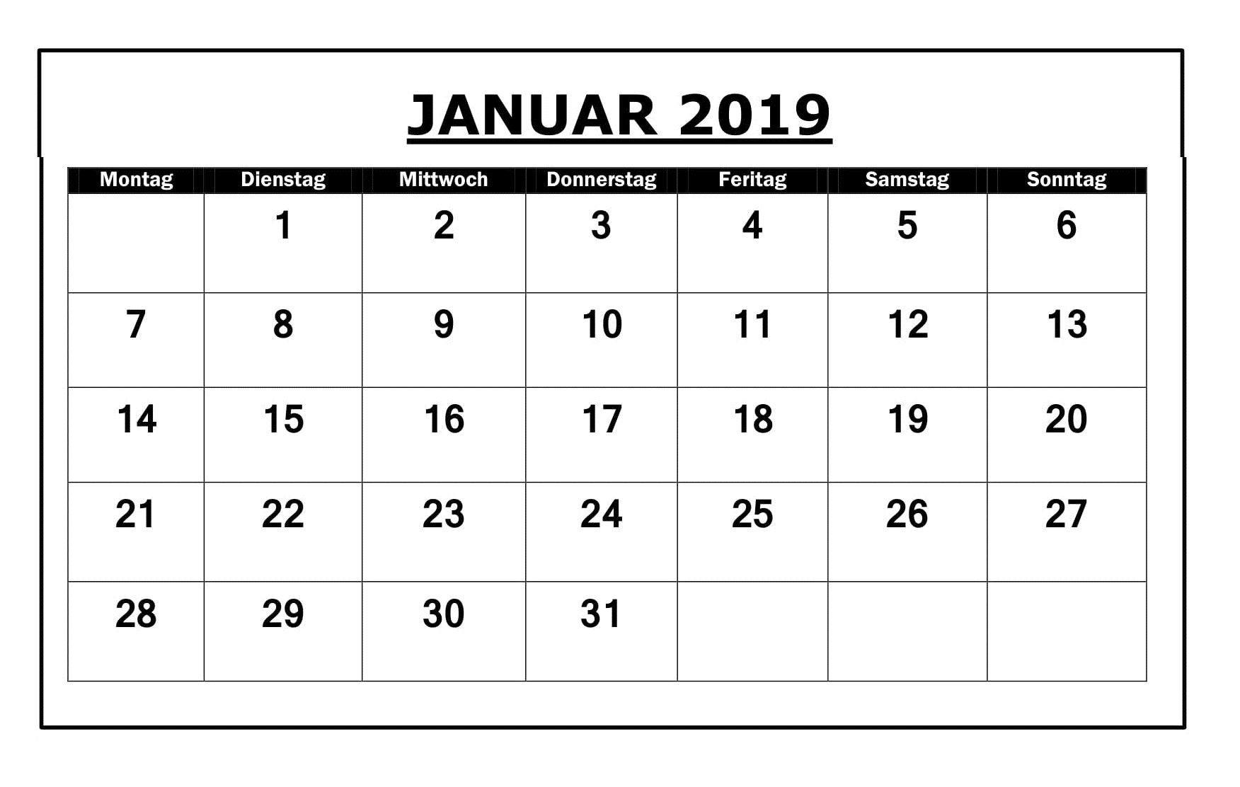 kalender monat januar 2019 zum ausdrucken kalender januar 2019 of kalender monat januar 2019 zum ausdrucken