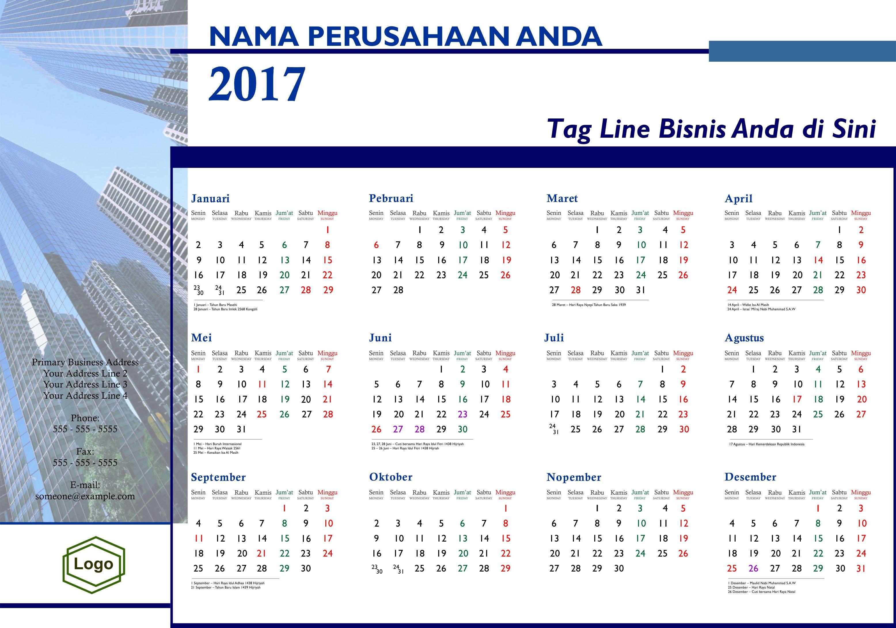 Download Kalender 2017 Indonesia Lengkap Hari Libur Pusat Cetak