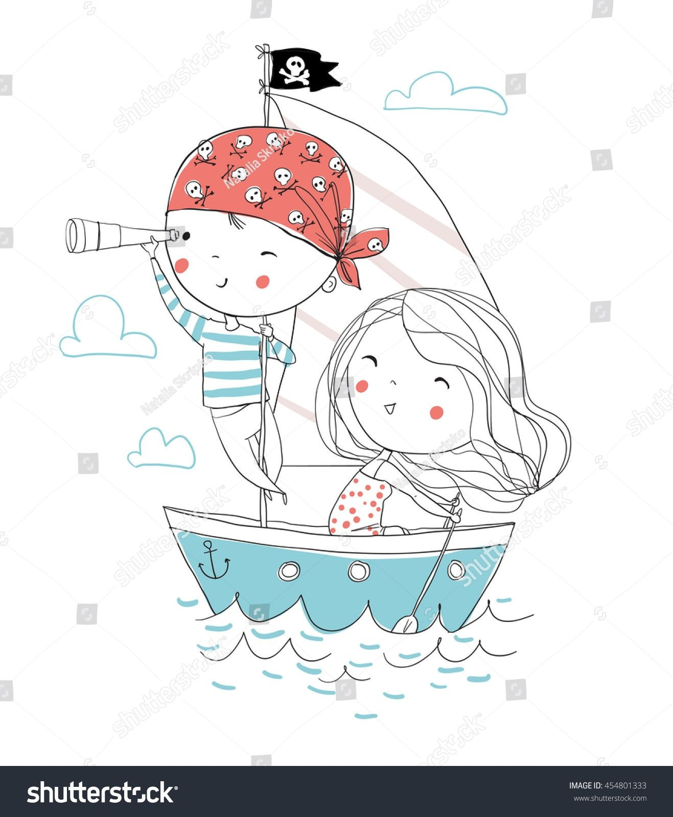 Pirate boy and girl in boat to sea