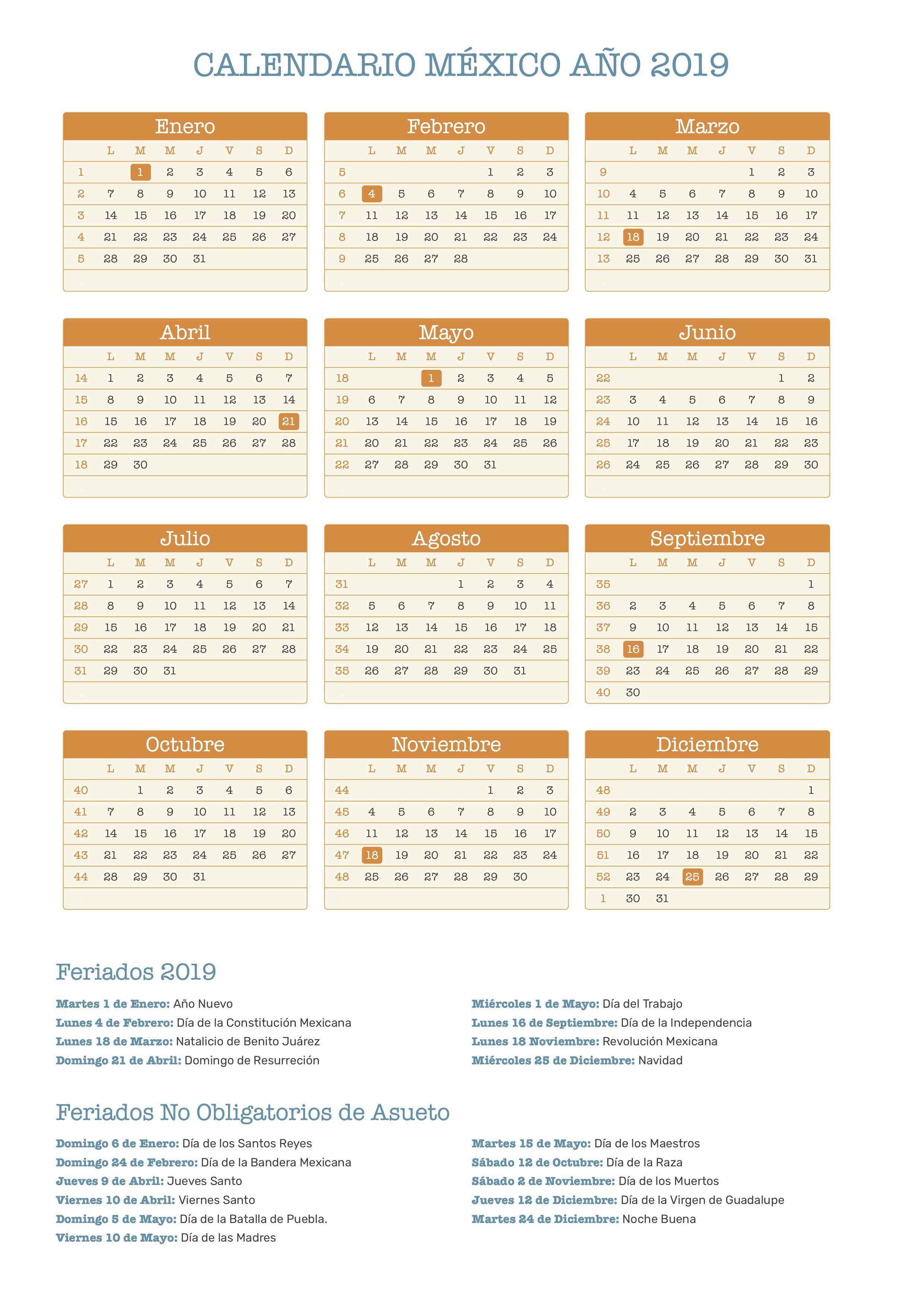 Calendario 2019 Chile Con Feriados Para Imprimir Pdf