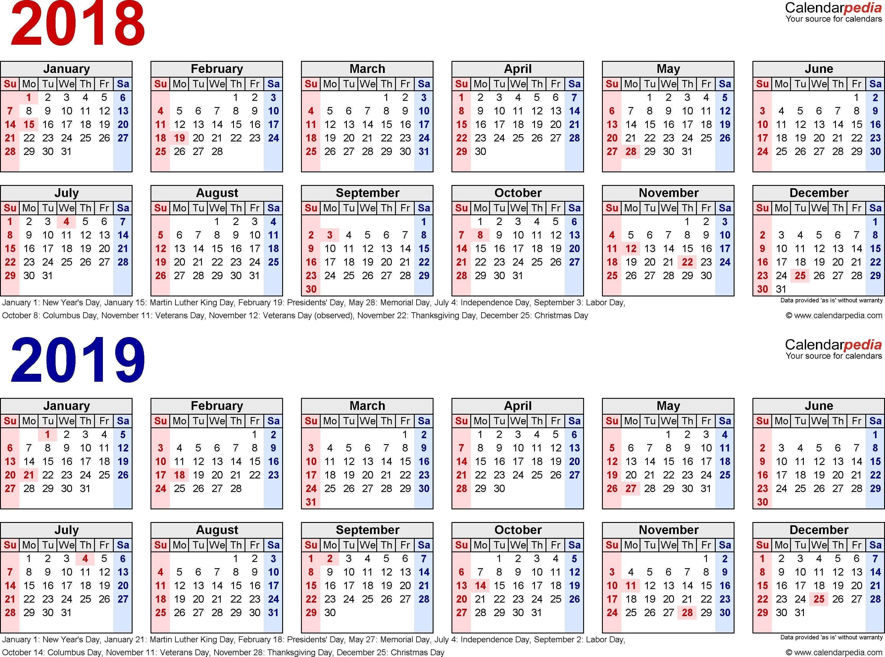 2018 2019 calendar free printable two year excel calendars