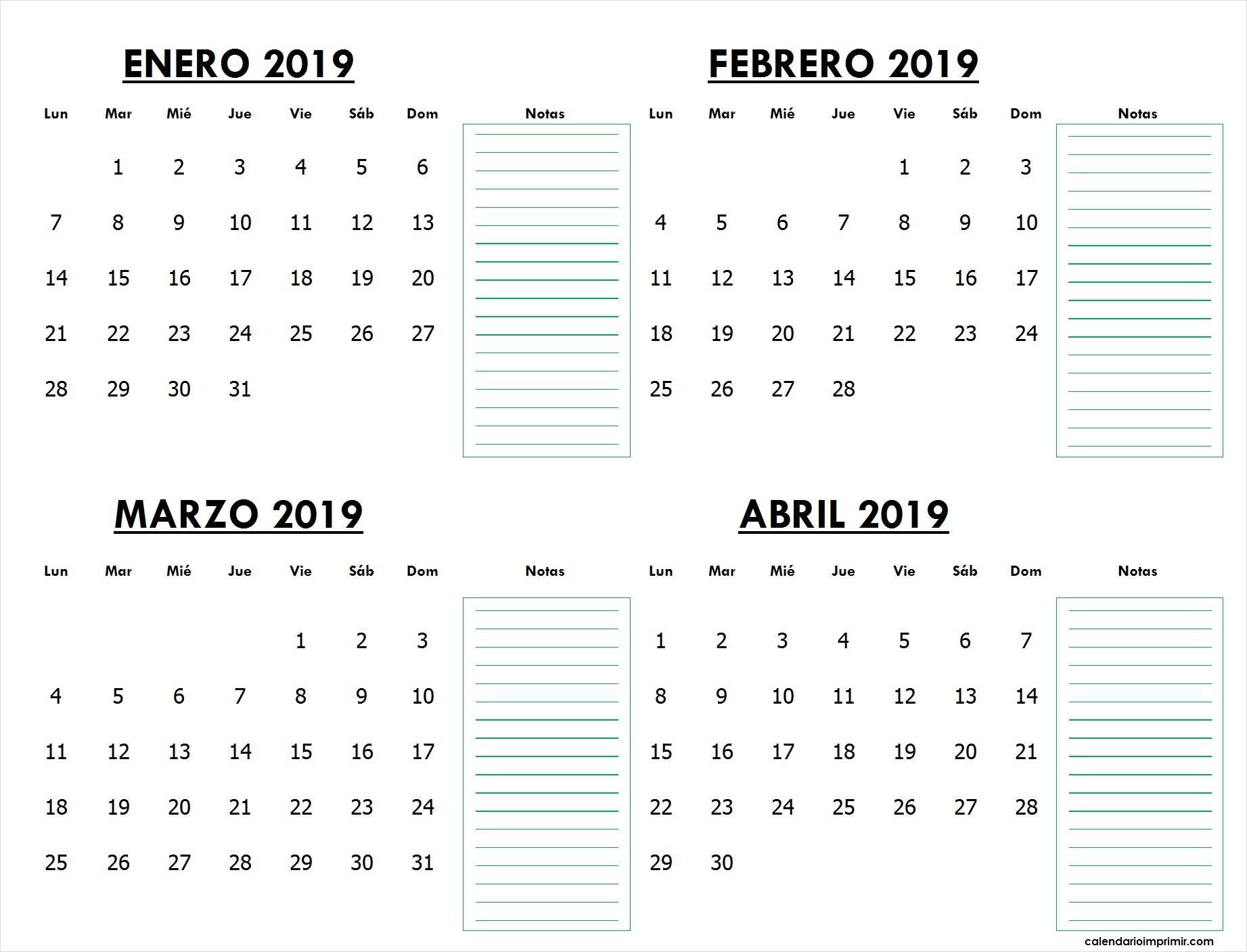 Imprimir Calendario Enero Febrero Marzo Abril 2019 Chile