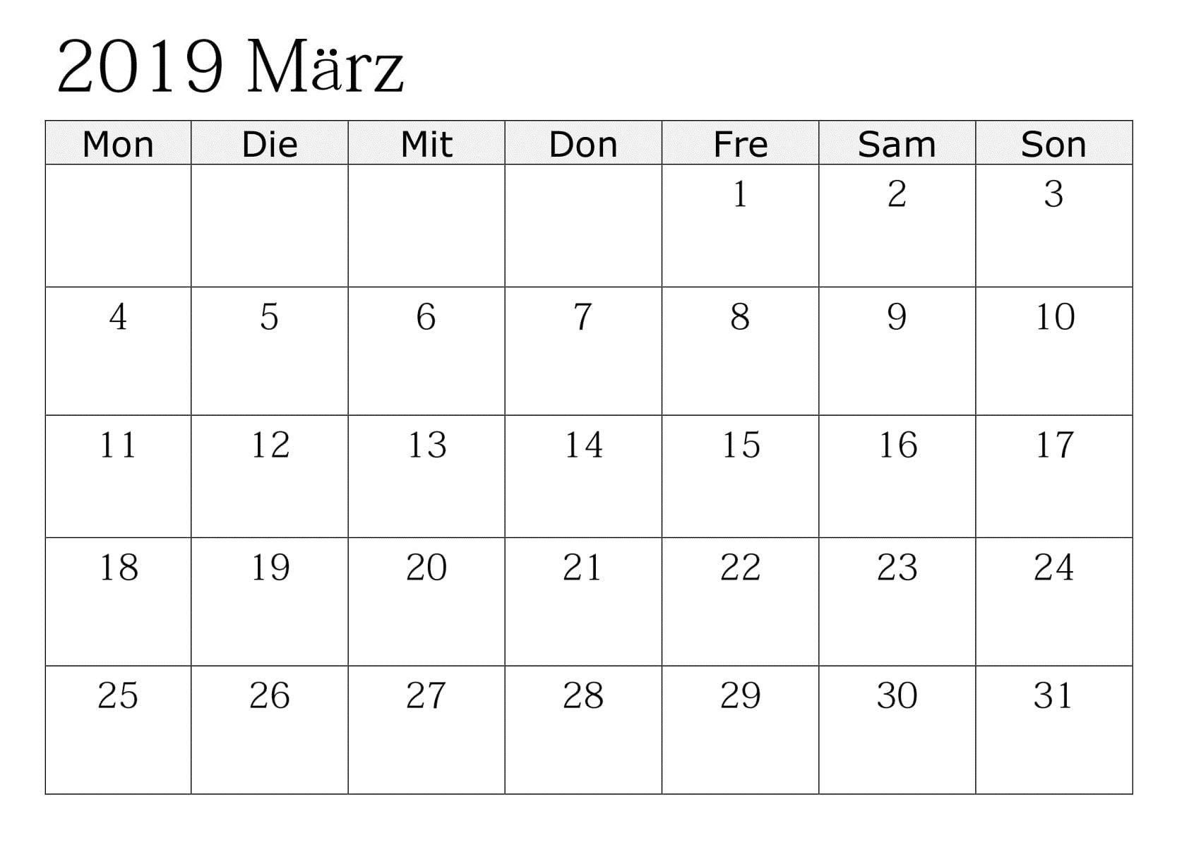 Kalender März Zum Ausdrucken Monatlich 2019