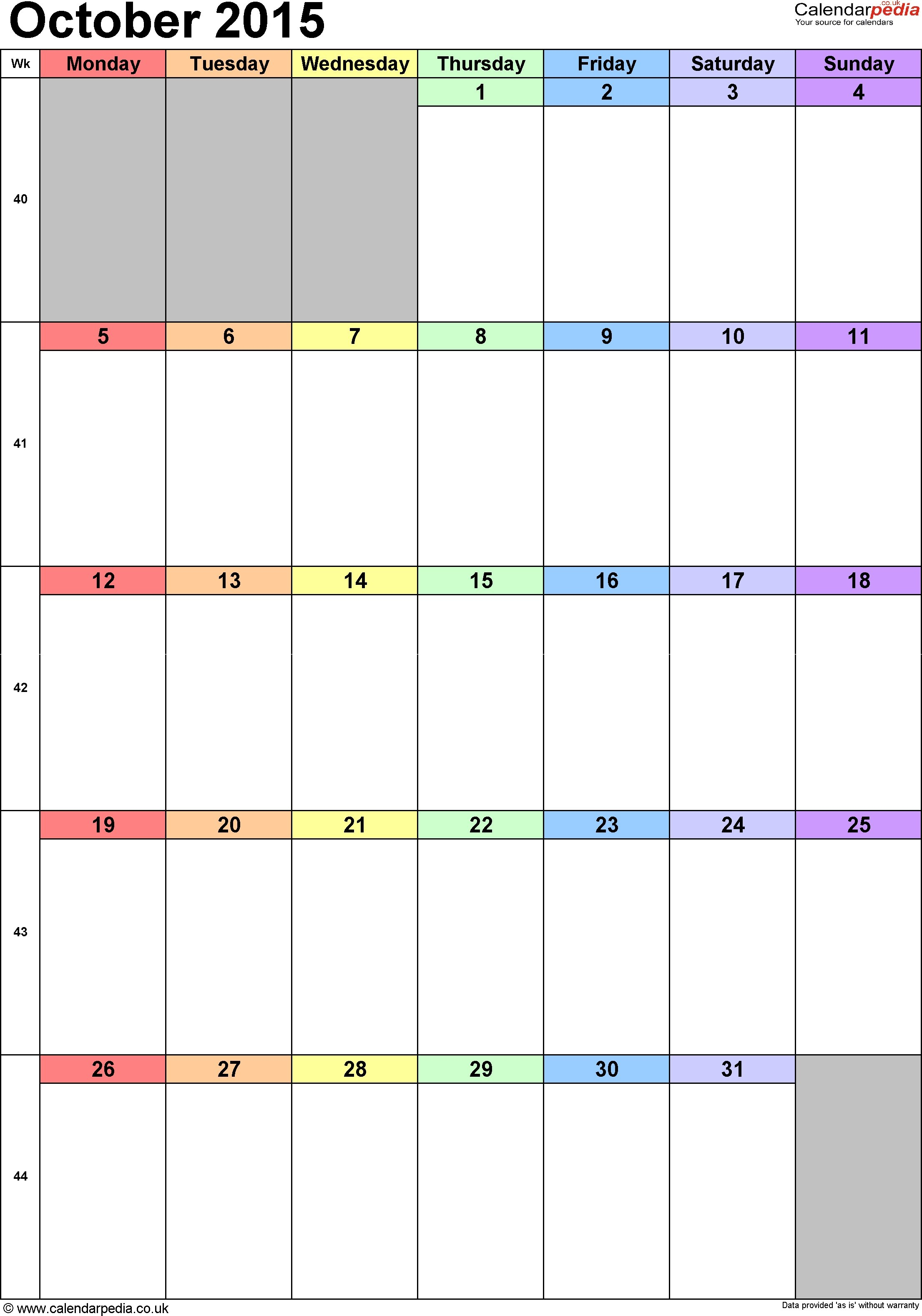Free Printable Oct 2015 Calendar