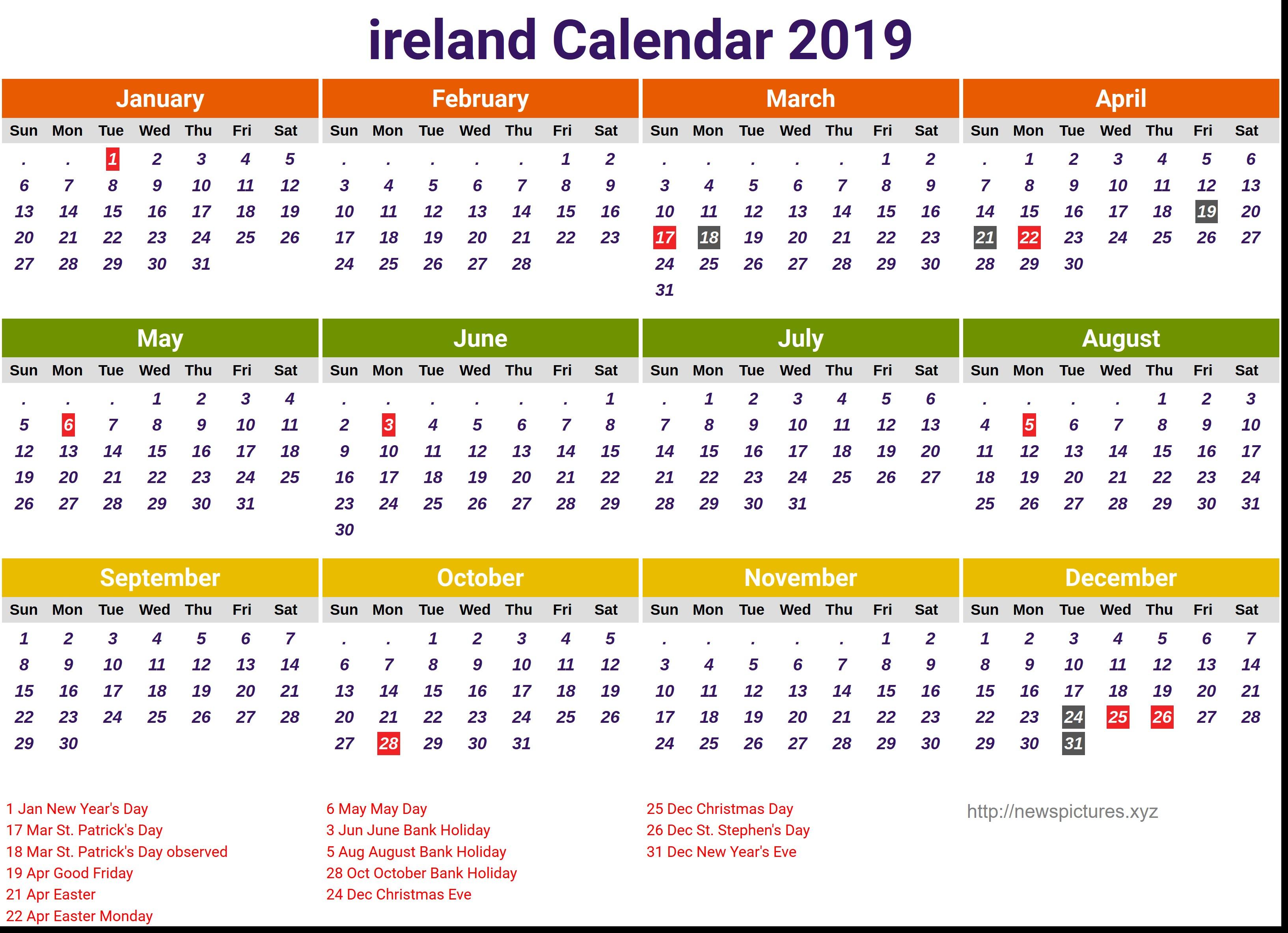 ireland official calendar 2019