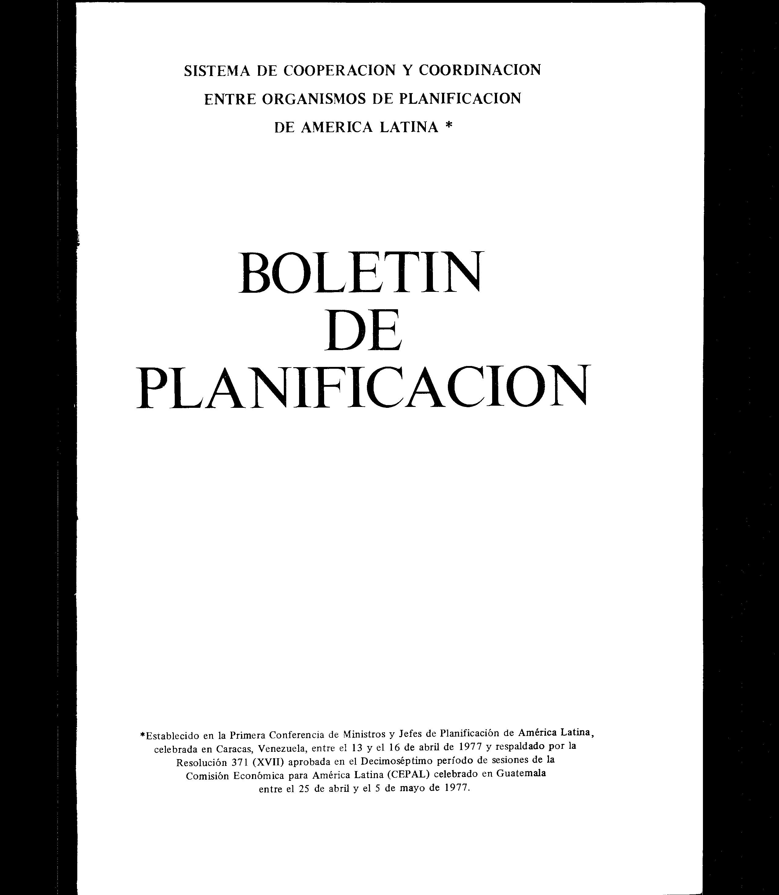 SISTEMA DE COOPERACION Y COORDINACION ENTRE ORGANISMOS DE PLANIFICACION DE AMERICA LATINA BOLETIN DE PLANIFICACION