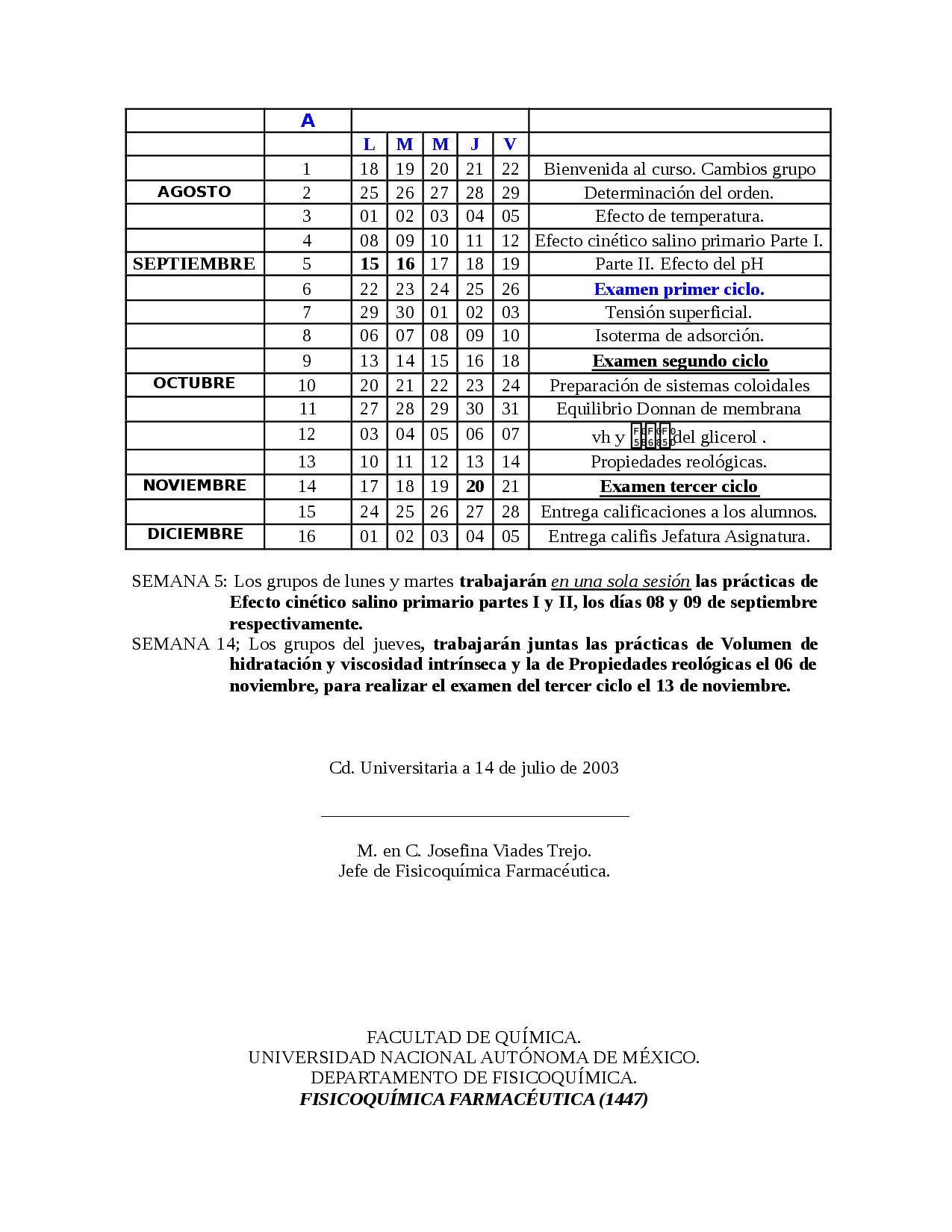 Calendario Con Numero De Semanas 2019 Más Recientes Fsicoquimica Y Silabo Docsity