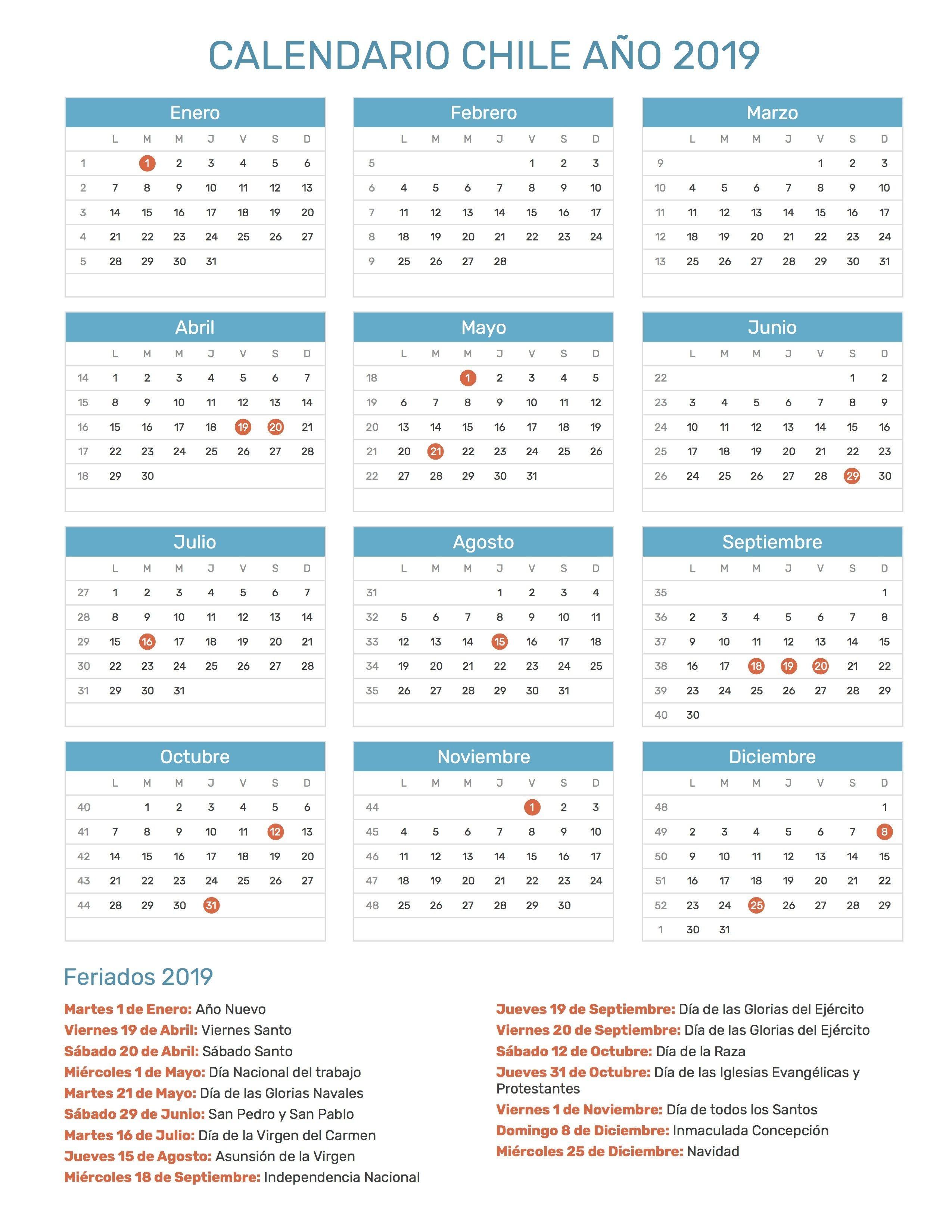 Calendario 2019 Chile Calendario 2019 Chile Calendar Pdf Journal