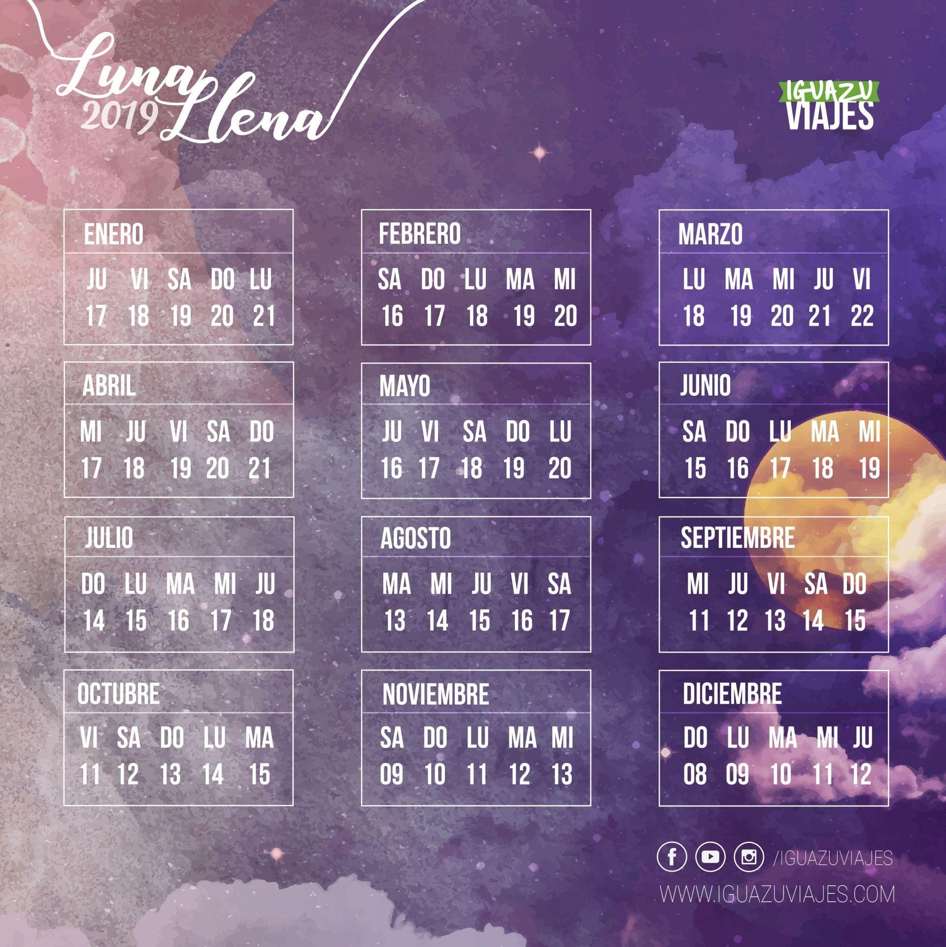 Calendário 2019 Excursi³n A Cataratas Del Iguazº Con Luna Llena