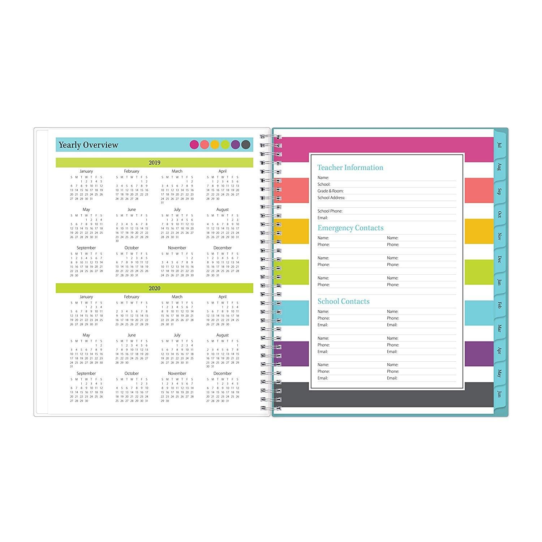 Blue Sky 2019 2020 Planificador de clases semanal y mensual para profesores a±o académico cubierta flexible encuadernaci³n de doble alambre