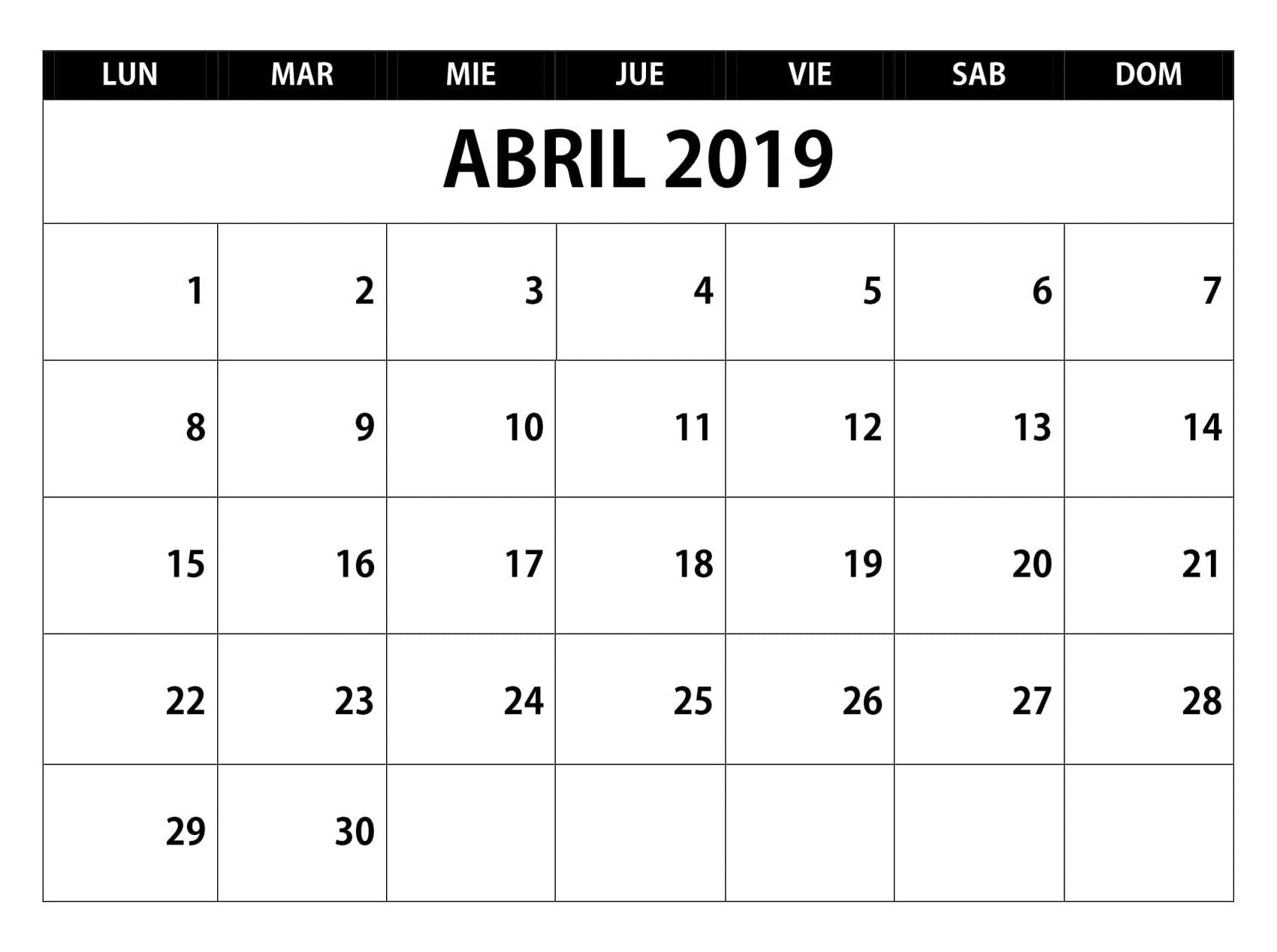 Abril 2019 Calendario Chile 6