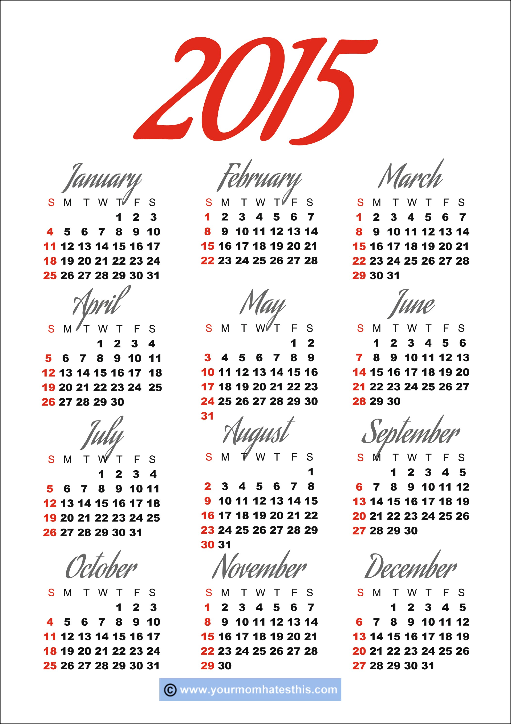 Free Downloadable Calendar Template Free Printable Calendar 2015 Free Downloadable Calendar Template Free Printable Calendar 2015