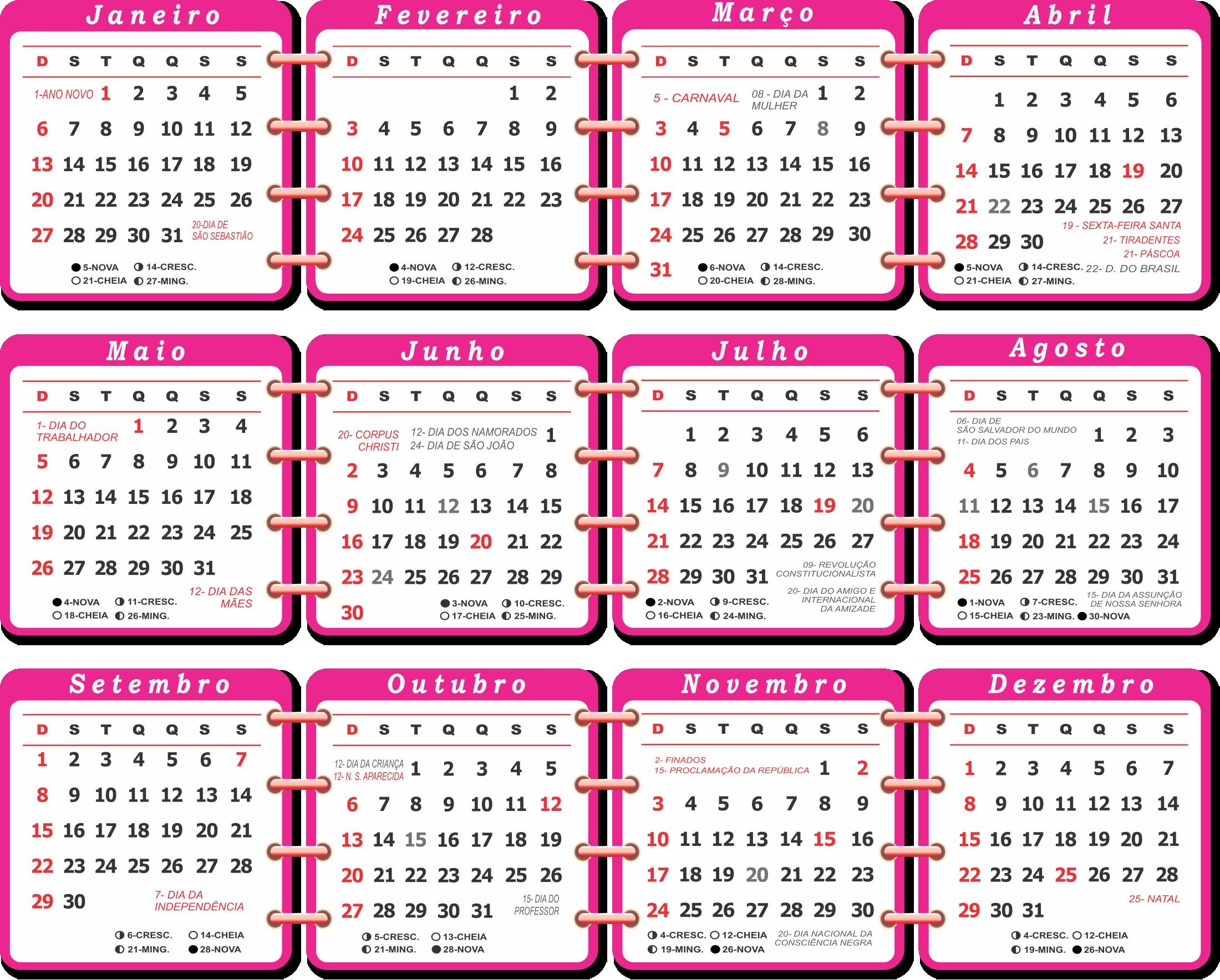 base calendario 2019 rosa