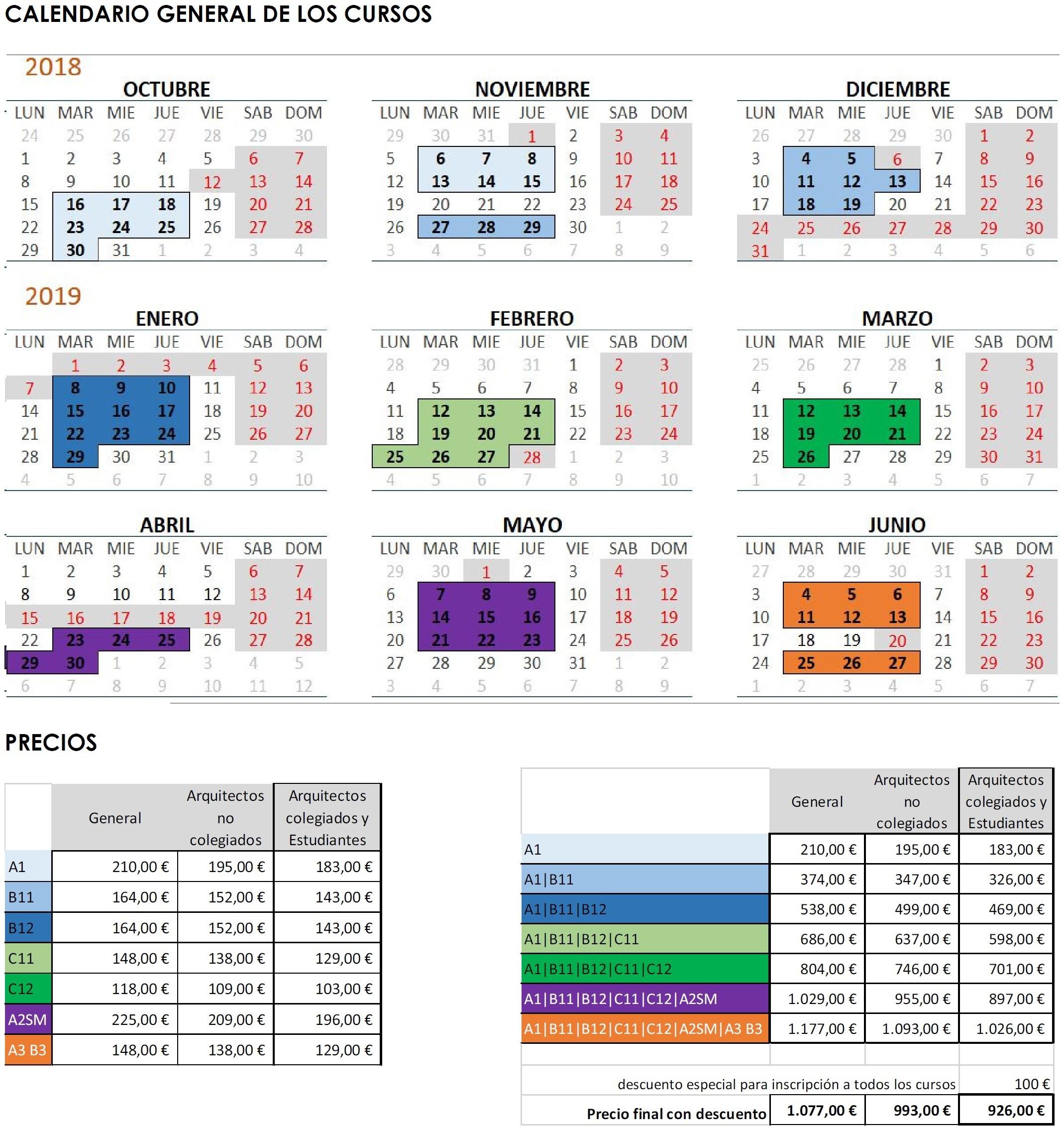 Los cursos serán impartidos en nuestro Colegio en su totalidad en horario de tarde segºn el calendario adjunto 2 m³dulos para este ºltimo trimestre de