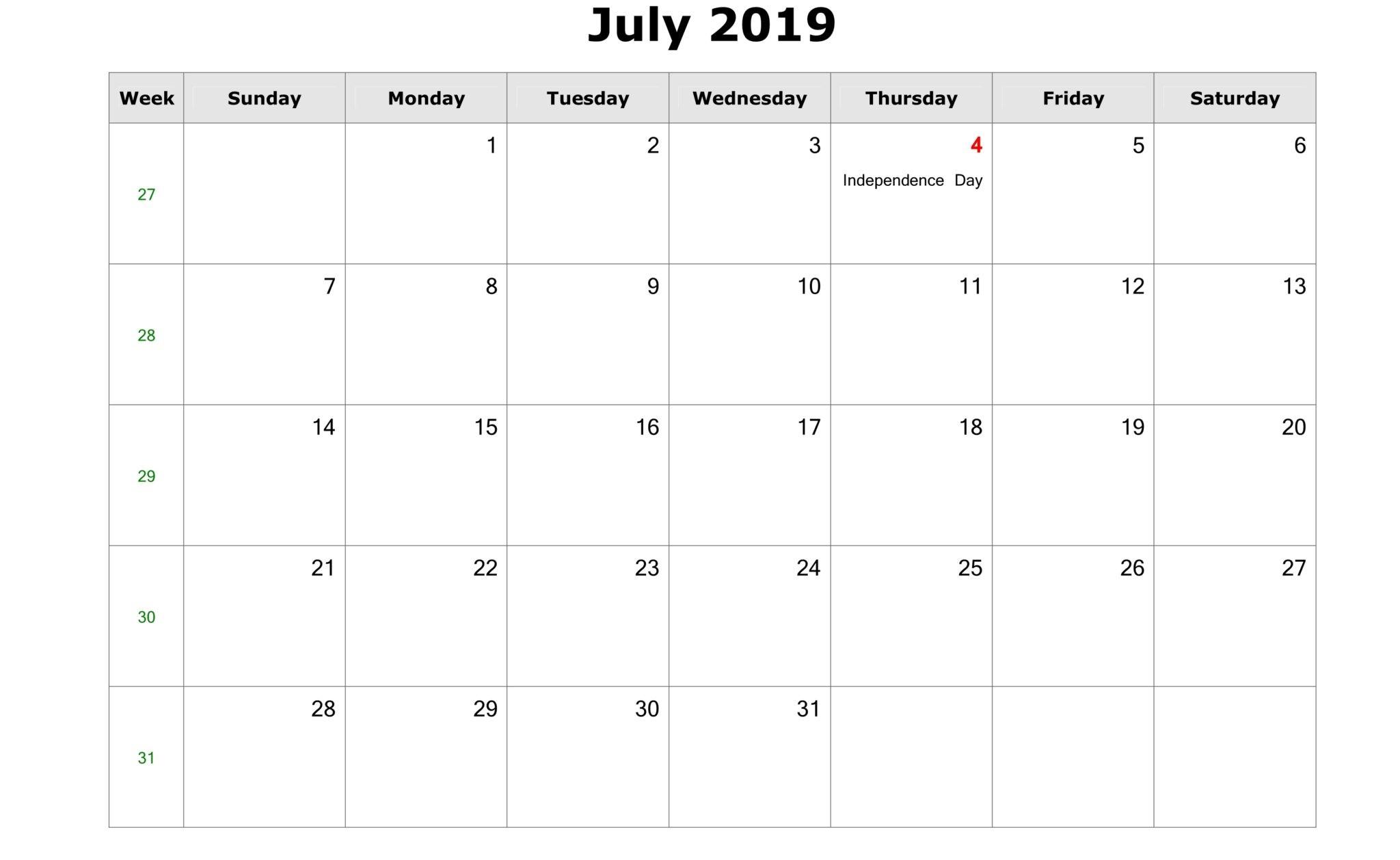 July 2019 Calendar With Holidays UK