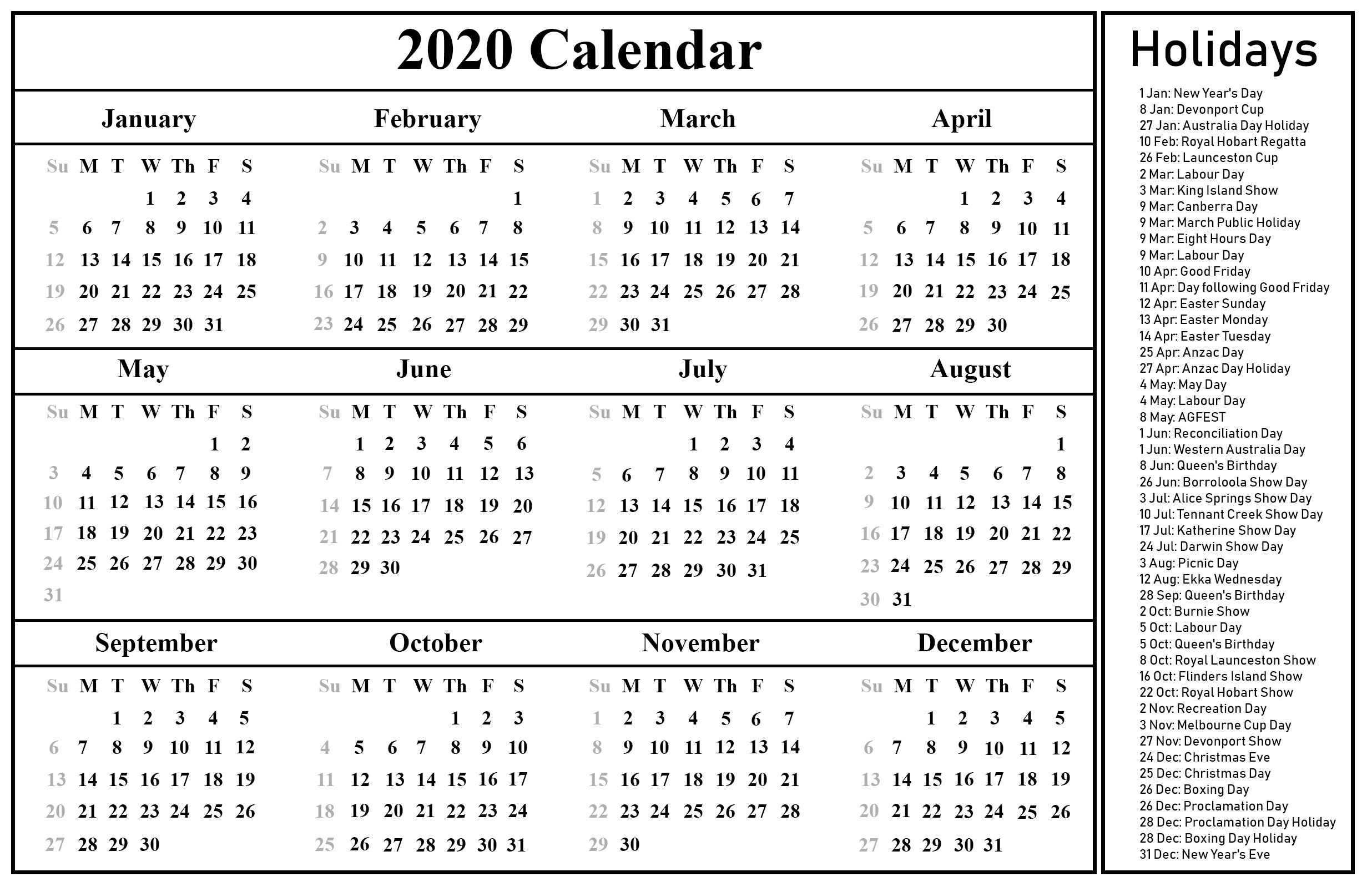 Free Printable Australia Calendar 2020 In PDF Excel & Word Format