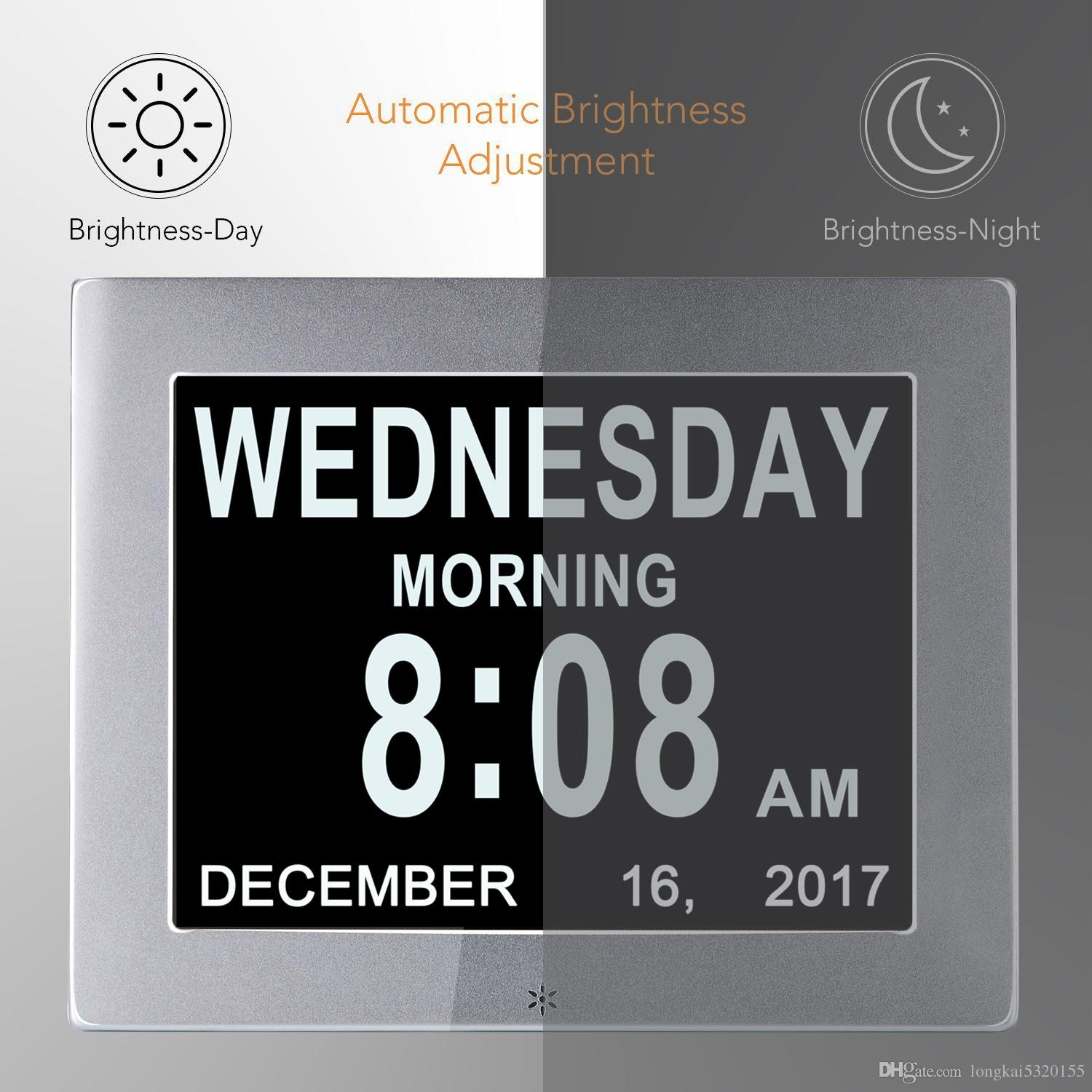 """8"""" LCD Digital Calendar Day Clock with Clear Time Day and Date display"""