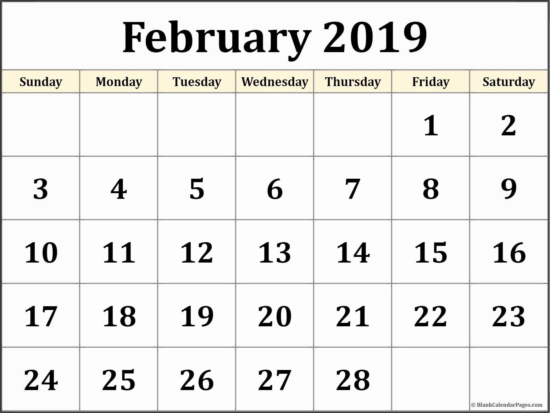 Calendar 2019 February Free Recientes February 2019 Blank Calendar Of Calendar 2019 February Free Más Recientes Free Download 53 Calendar Template 2015