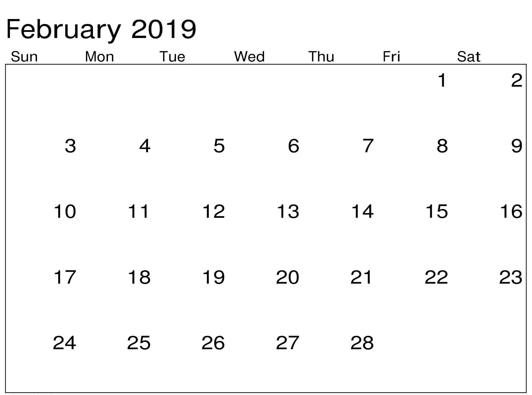 Printable Calendar February 2019 PDF february february2019 2019februarycalendar