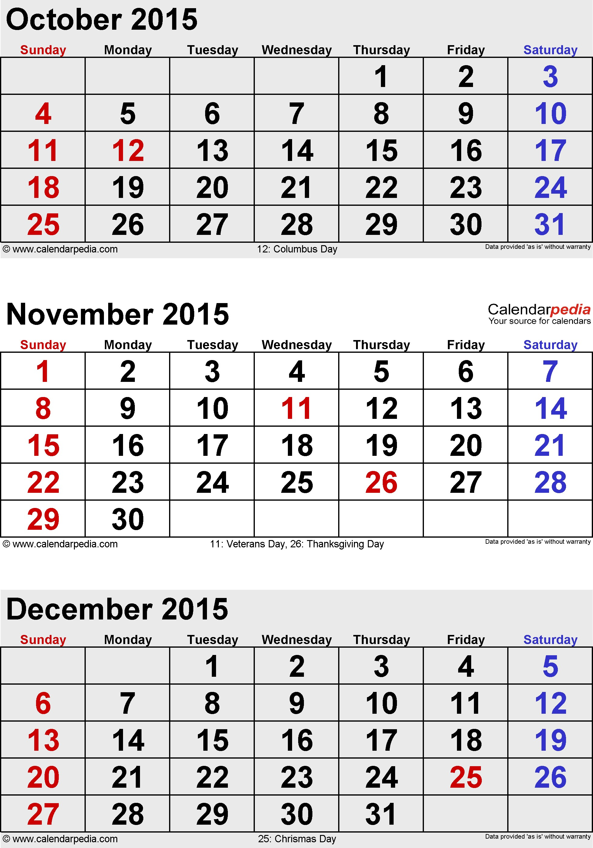 Calendar November December 2015 January 2016 15
