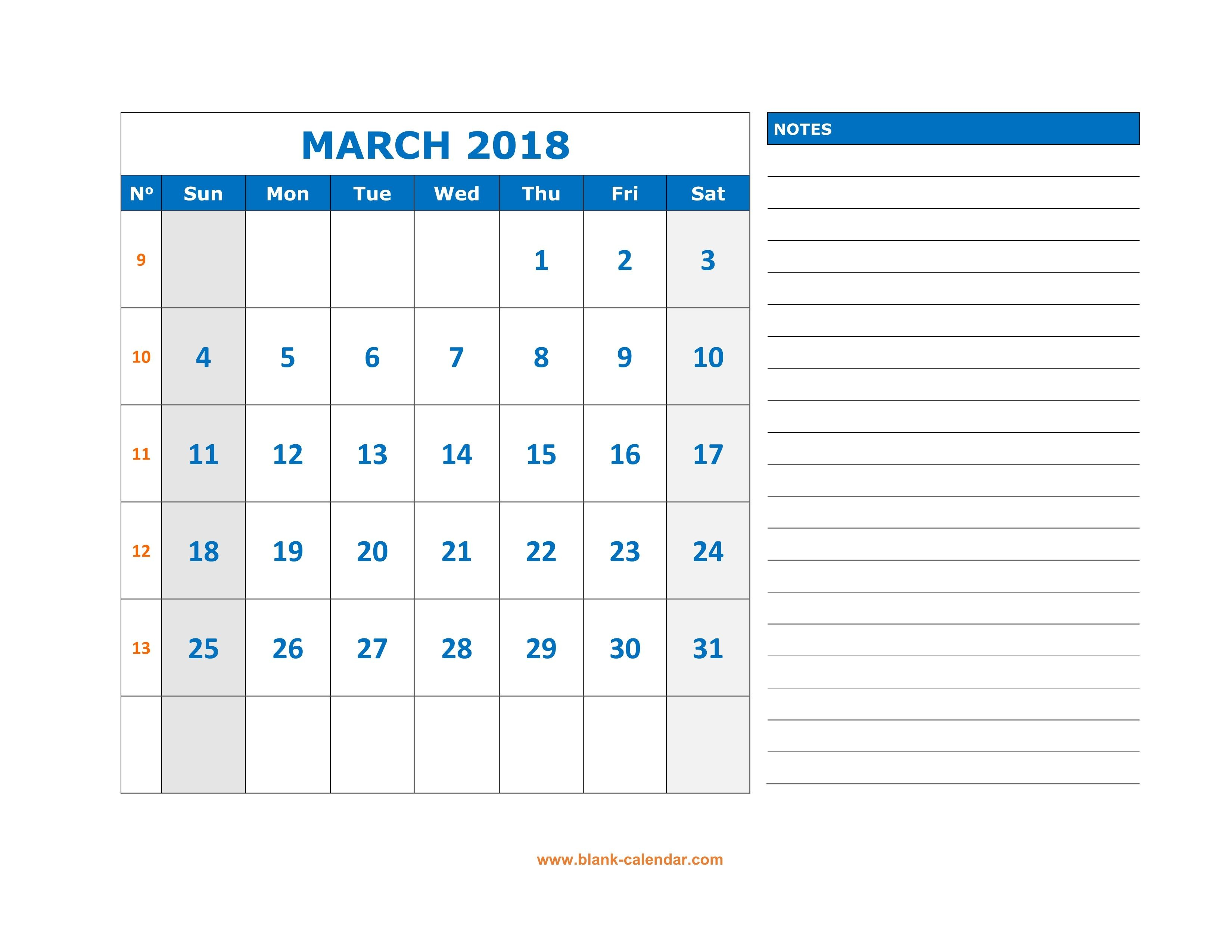 March 2019 Fillable Calendar with Space