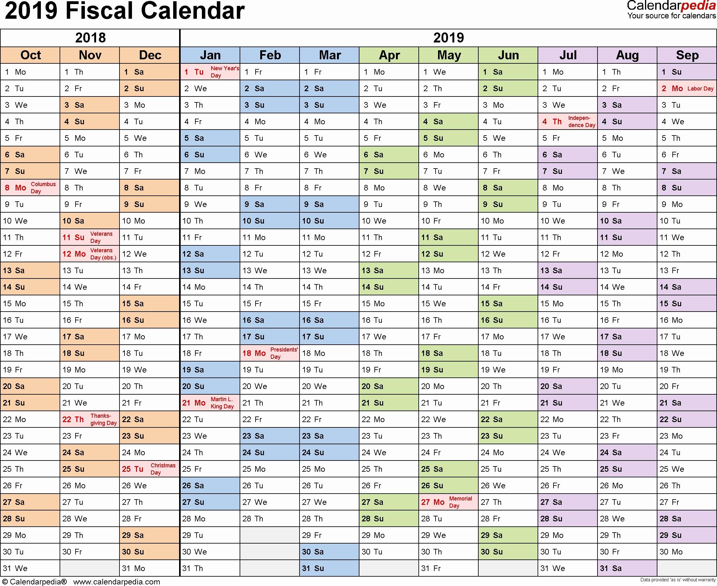 Bill Payment Schedule Template Best Fiscal Calendars 2019 as Free