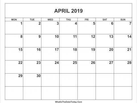 Calendar 2019 Usa Printable Recientes April 2019 Calendar Word April 2019 Calendar