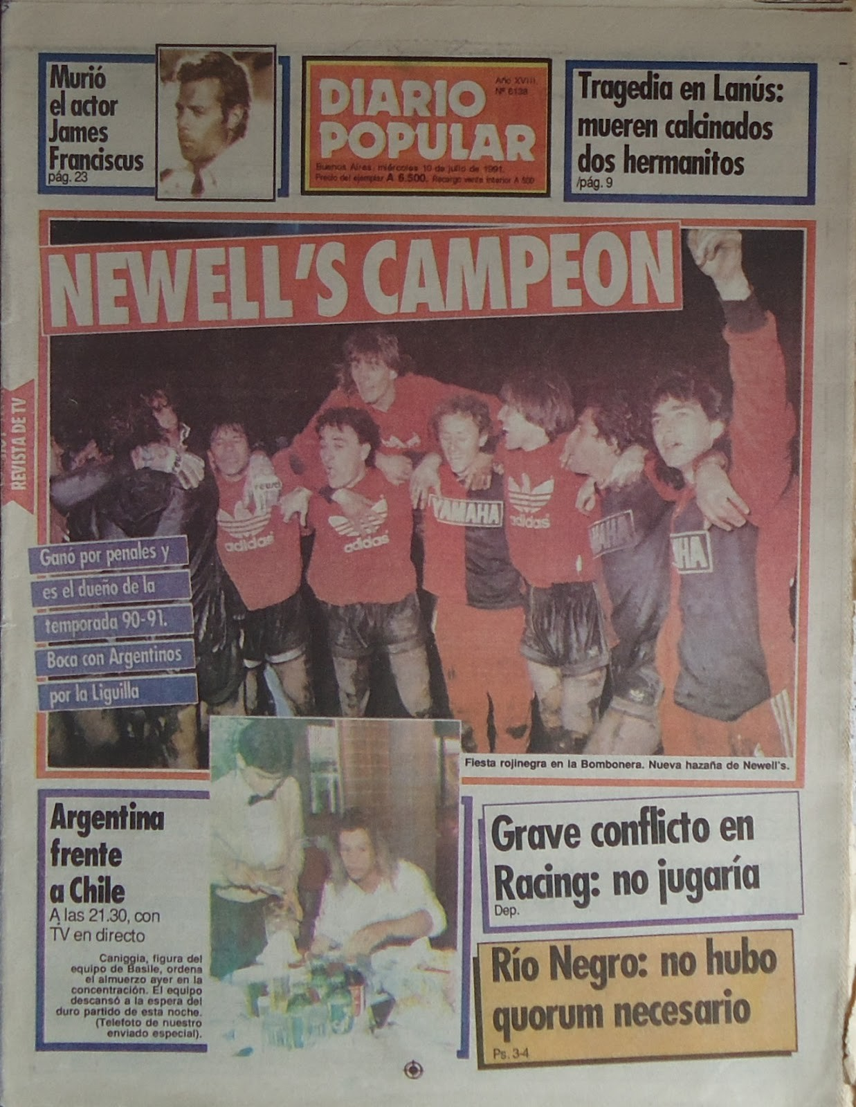 Newell´s Campeon 1991 Diario Popular 10 07 91
