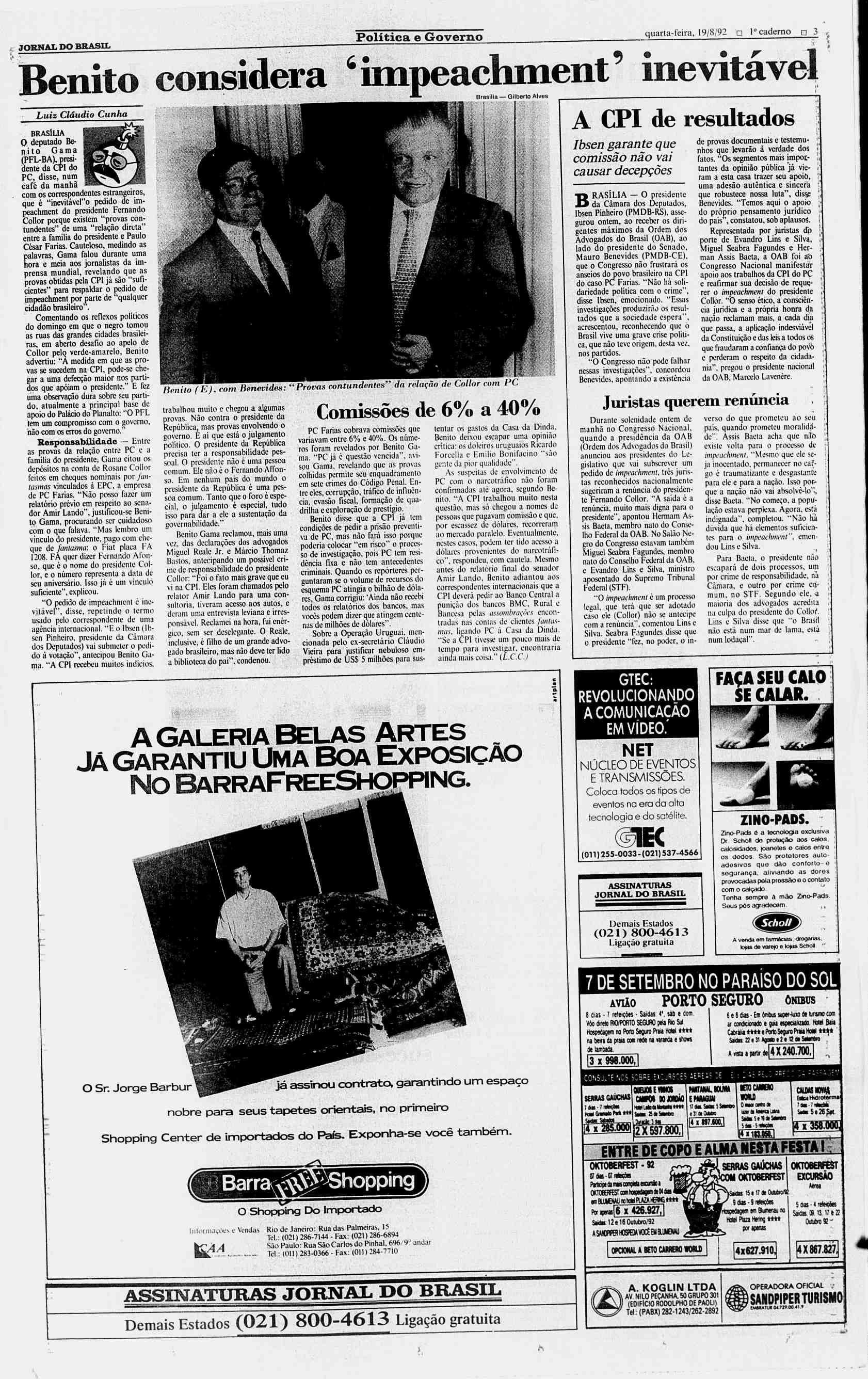 """Poltica e Governo quarta feira 19 8 92 1"""" caderno"""