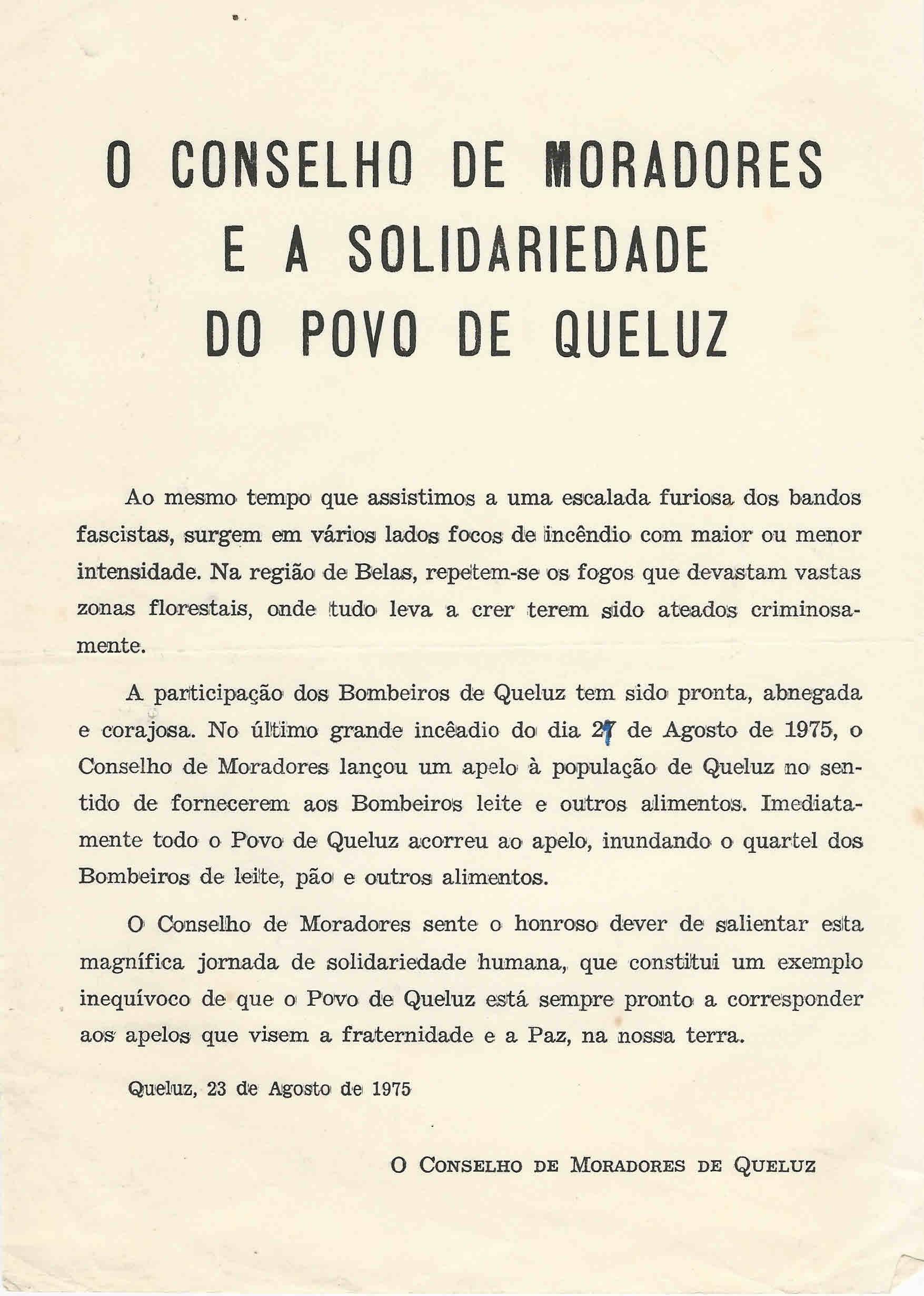 CONSELHO DE MORADORES DE QUELUZ – EPHEMERA – Biblioteca e arquivo de José Pacheco Pereira