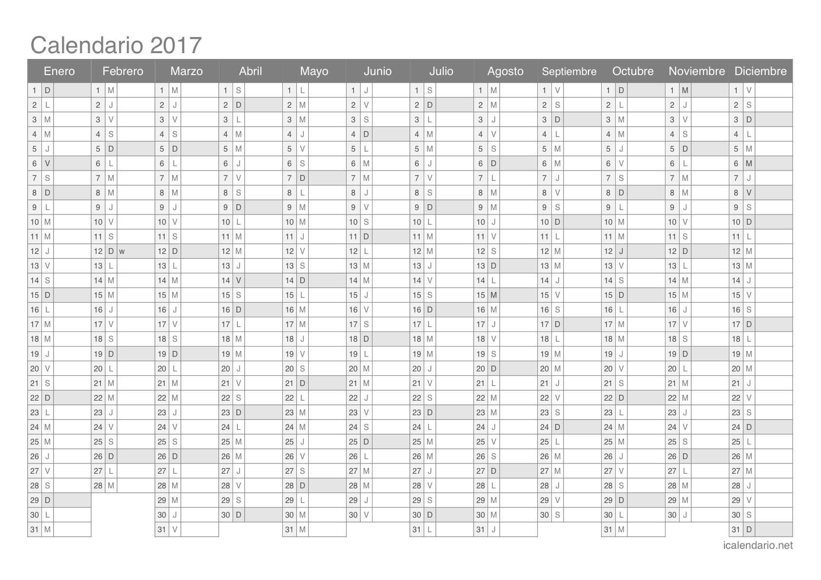 Calendario 2017 para imprimir
