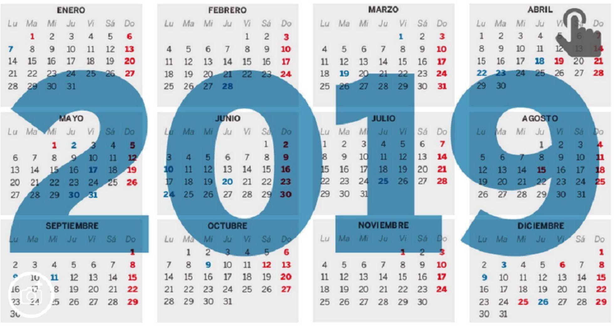 Calendario Laboral Espaıa con Festivos 2019 BOE