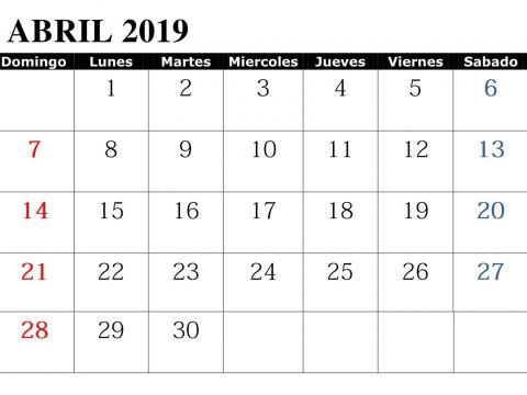 Calendario 2019 Colombia Word Más Recientemente Liberado Abril 2019 Con Festivos Word Calendario T