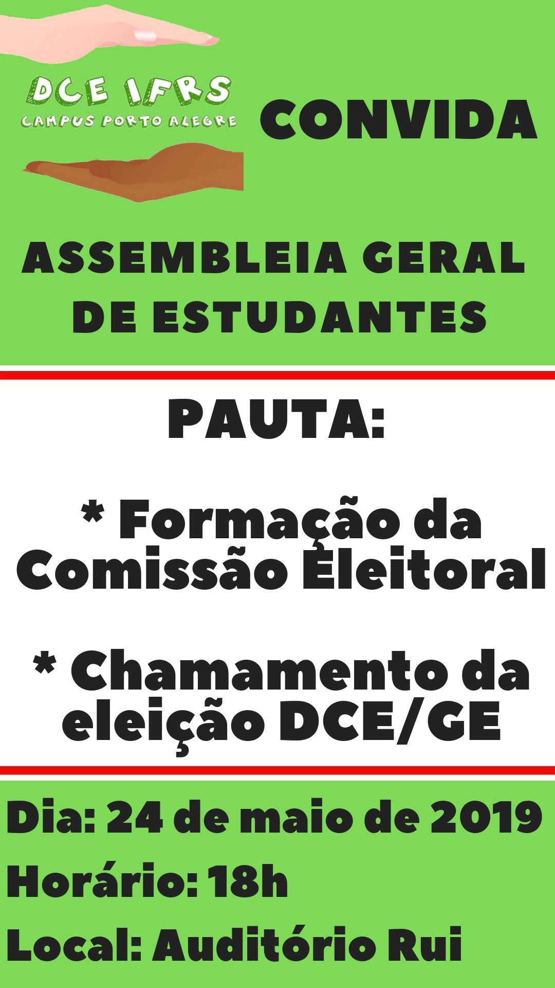 DCE do Campus Porto Alegre convida para assembleia geral de estudantes no dia 24 05