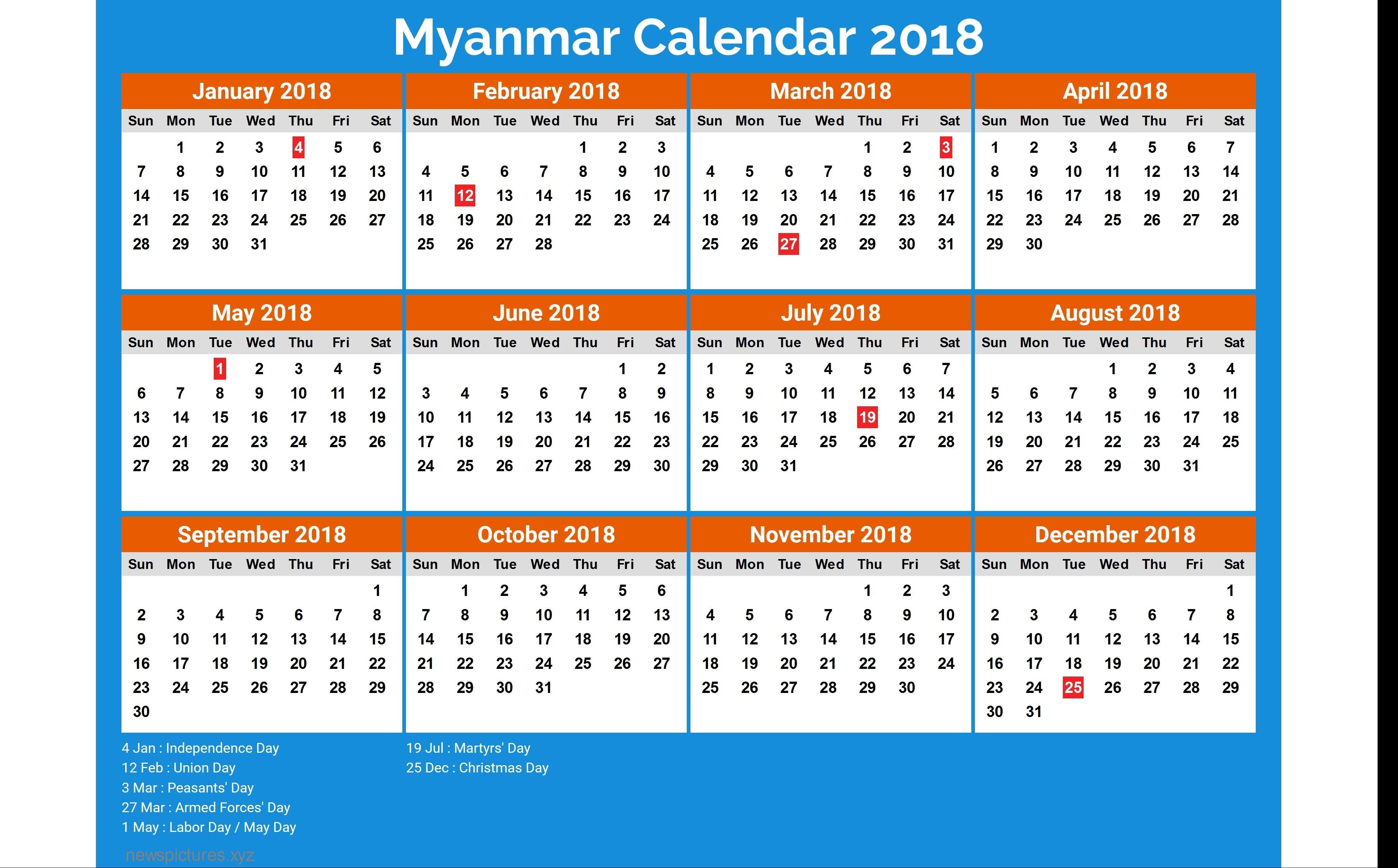 myanmar calendar 2018 8 newspicturesxyz 2