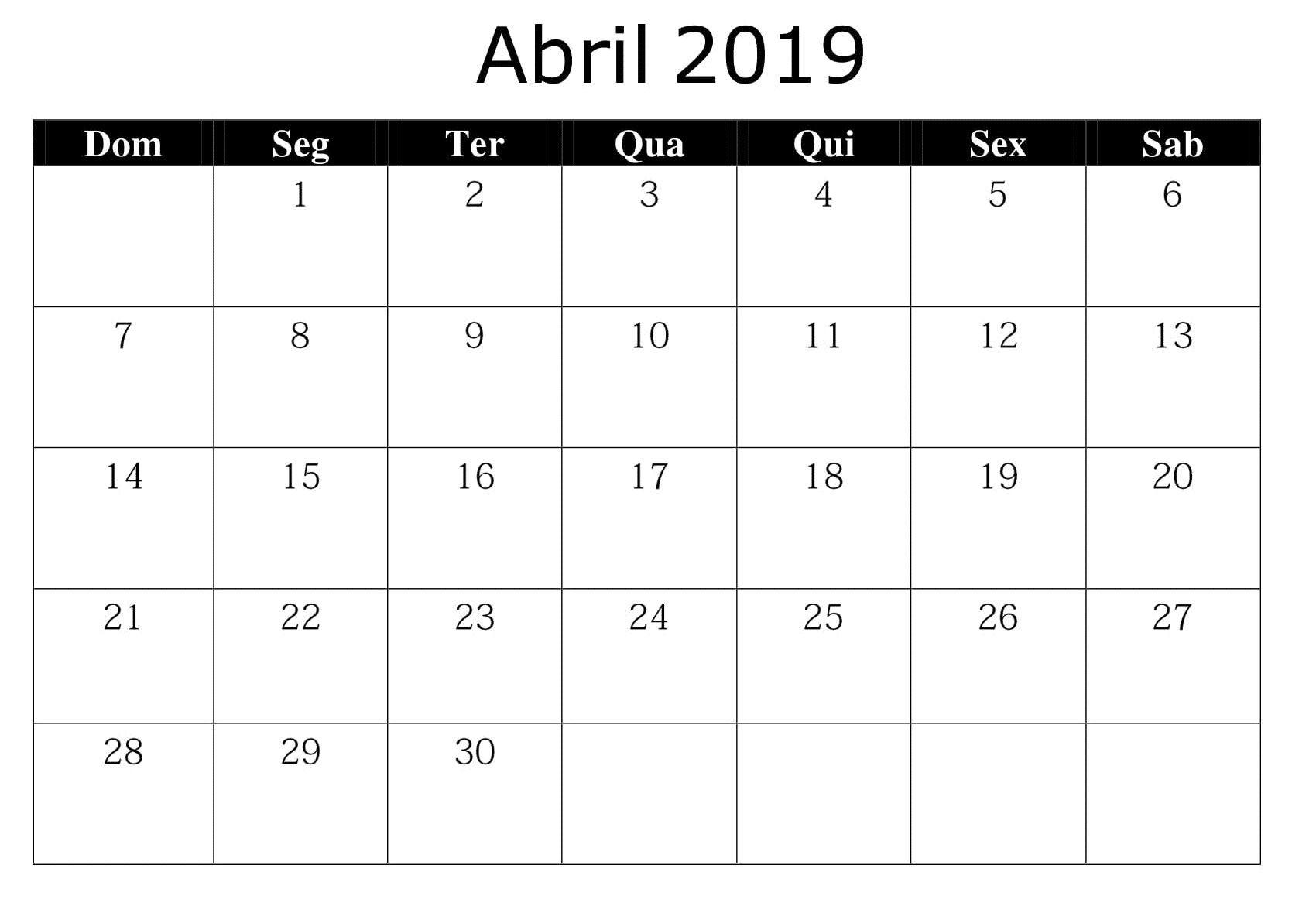 Calendário Abril 2019 Imprimir