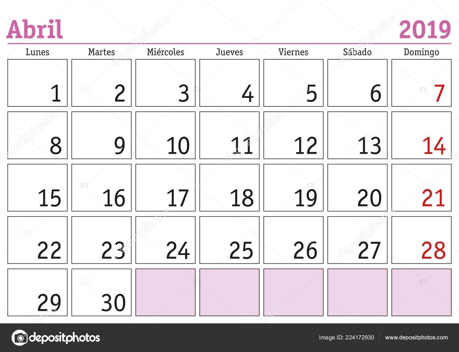 Mes Abril Calendario Pared A±o 2019 Espa±ol Abril 2019 Calendario