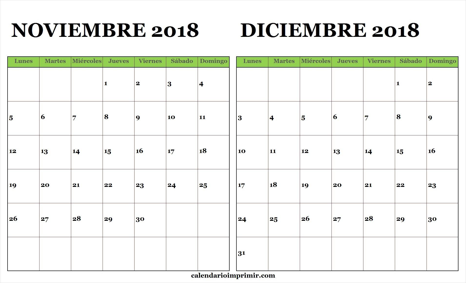 calendario noviembre diciembre 2018 lunes a domingo para imprimir