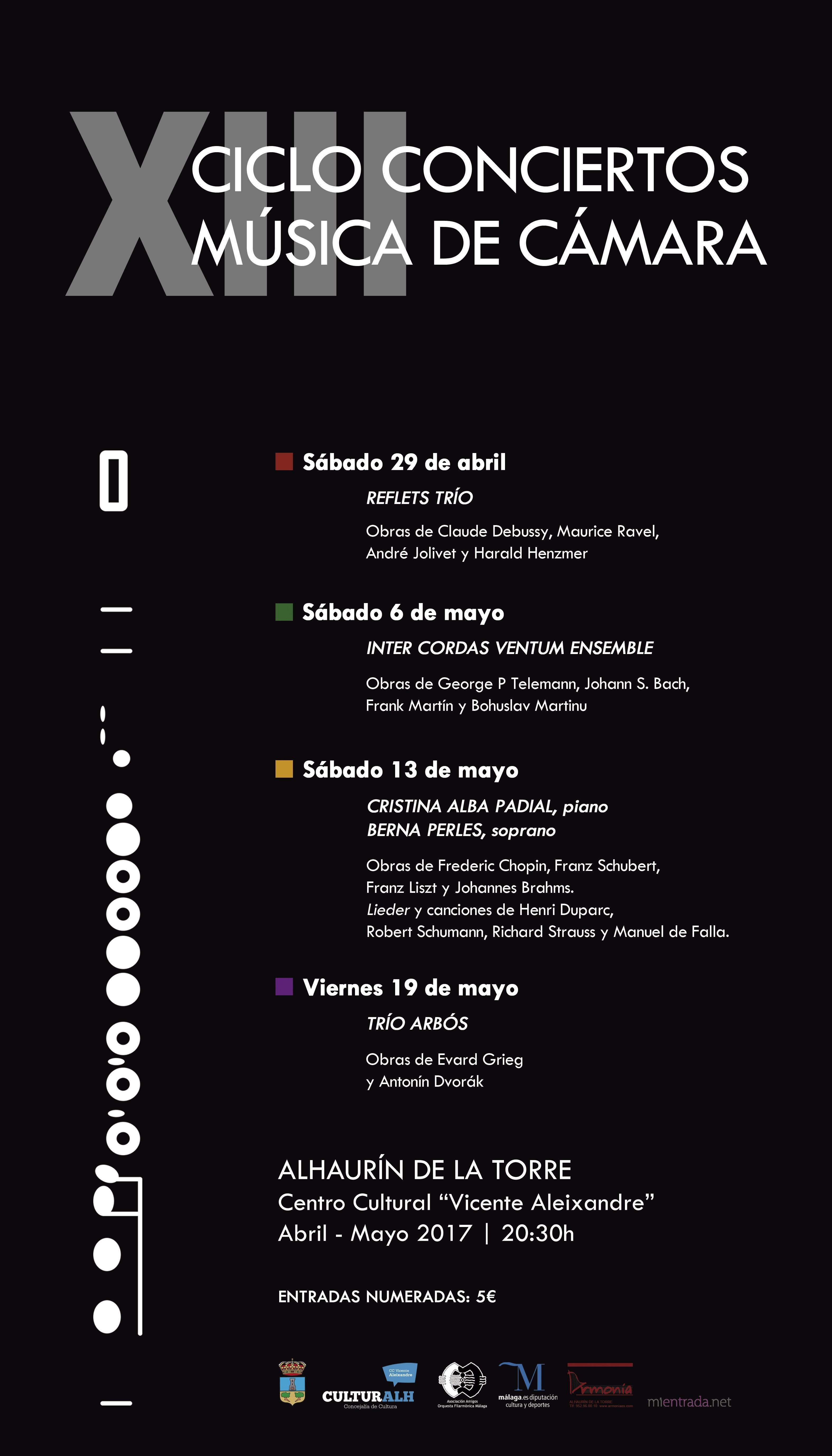 calendario 2019 con semanas numeradas XIII Ciclo de Mºsica de Cámara