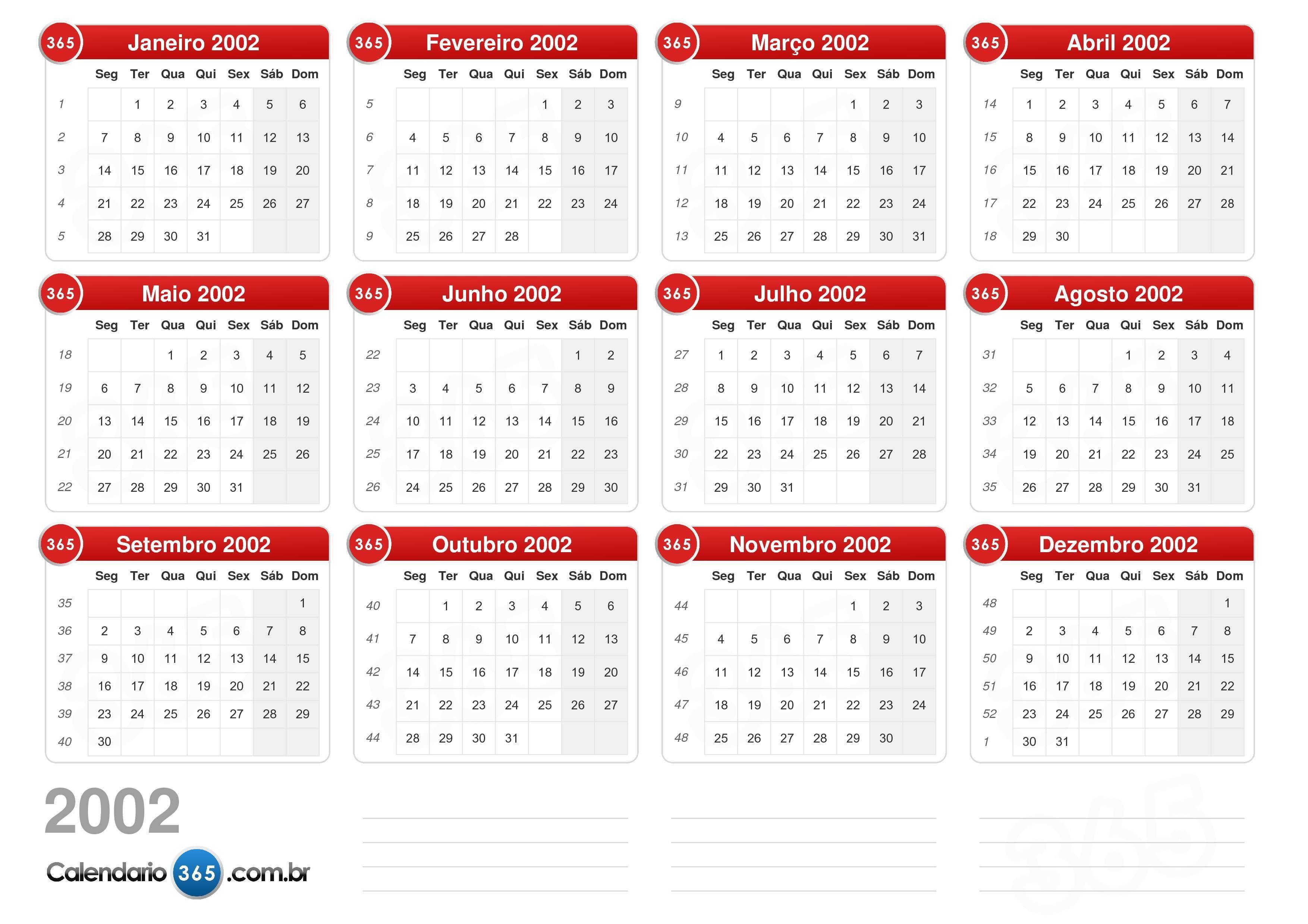 Calendário 2002