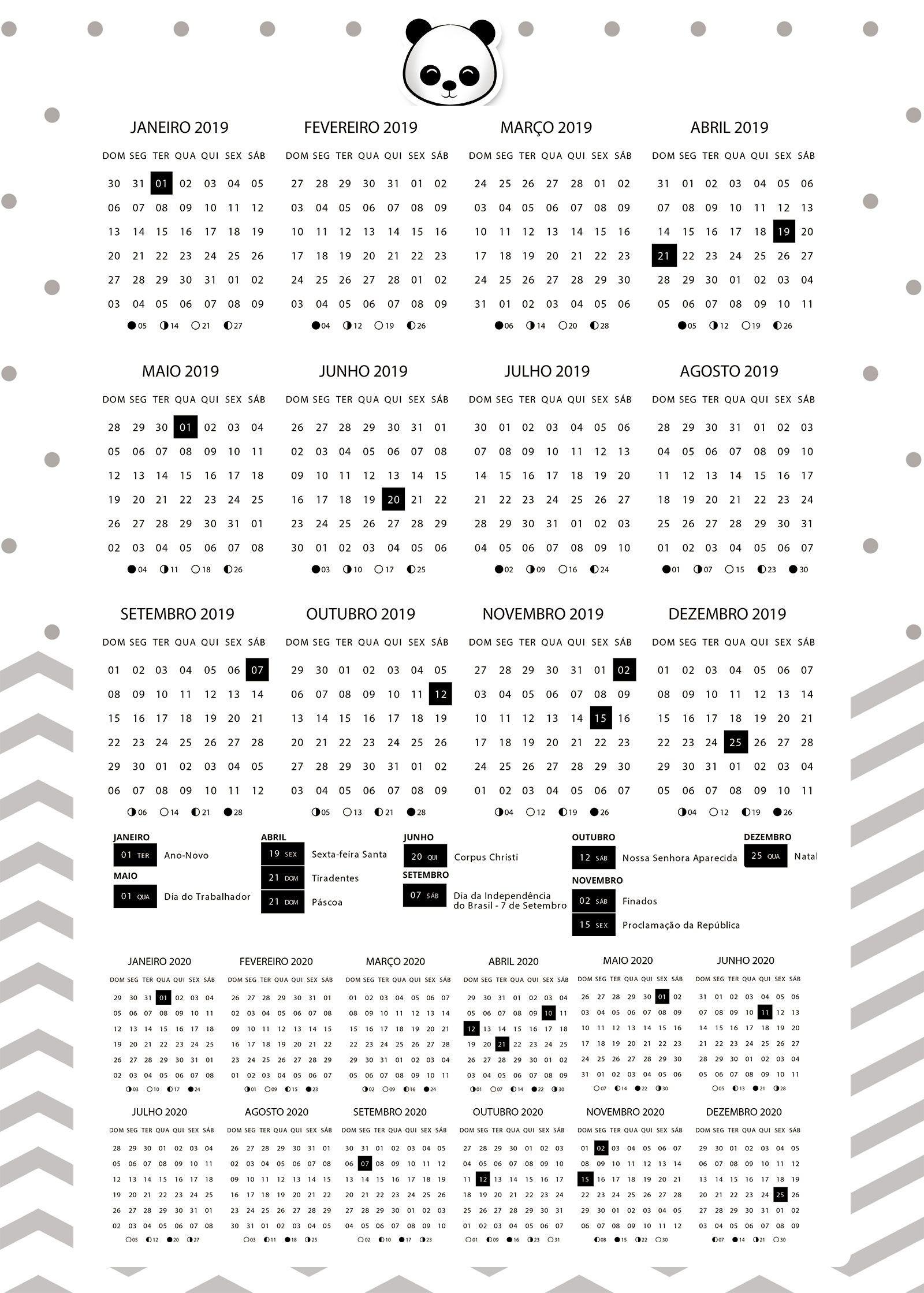 Planner 2019 Panda Menino calendario 2019 e 2020