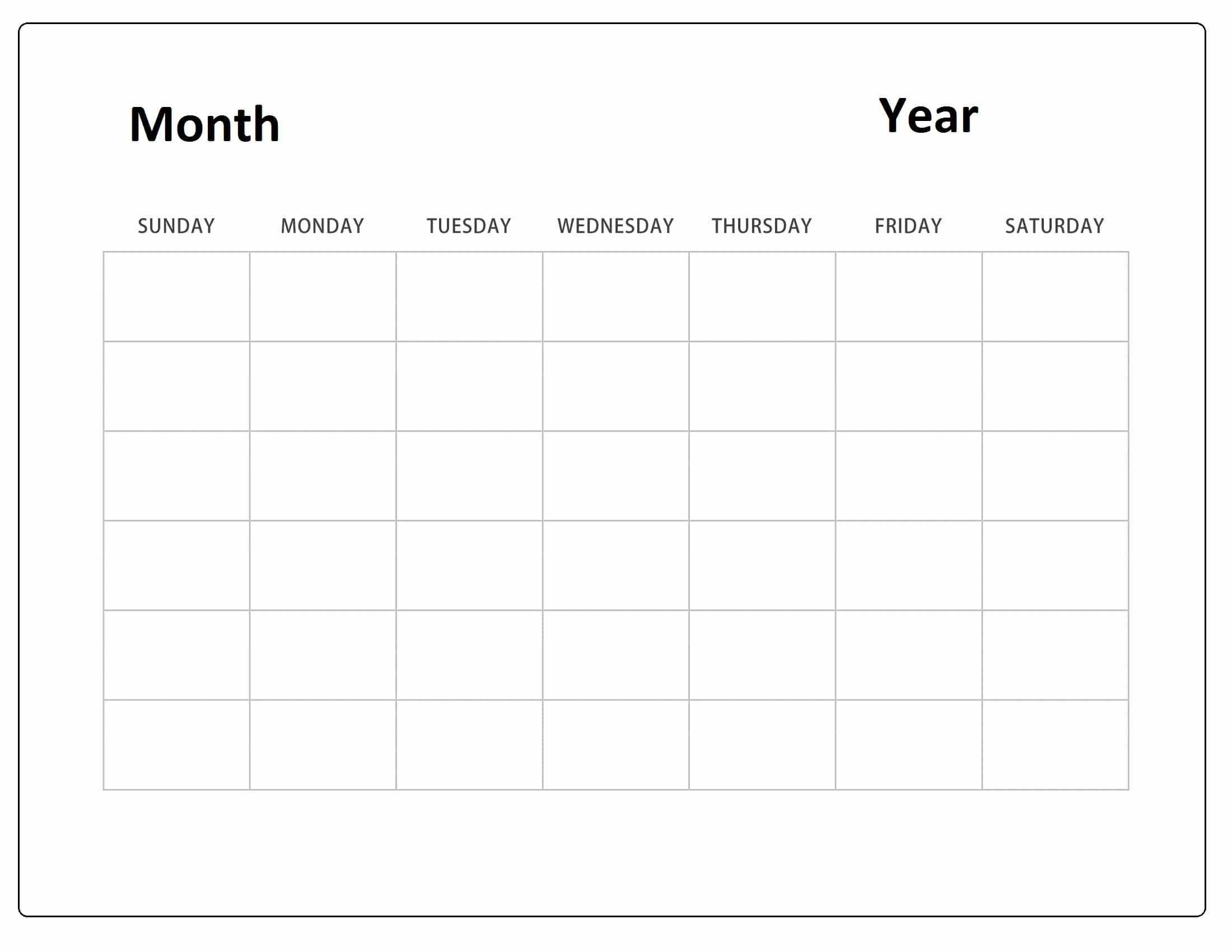 Blank Calendar Template Word And