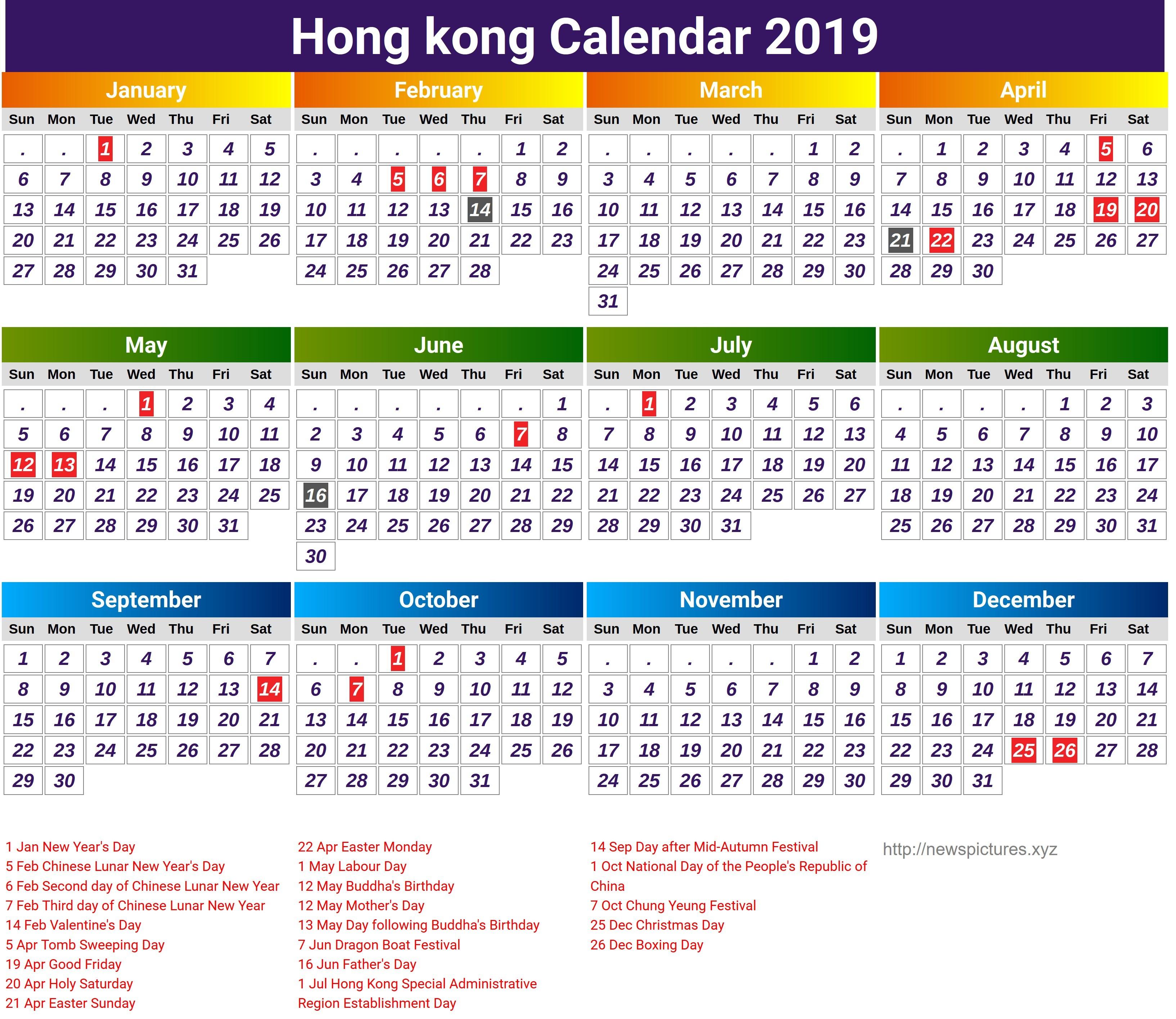 Hongkong Government Calendar 2019 16 Ocps Calendar