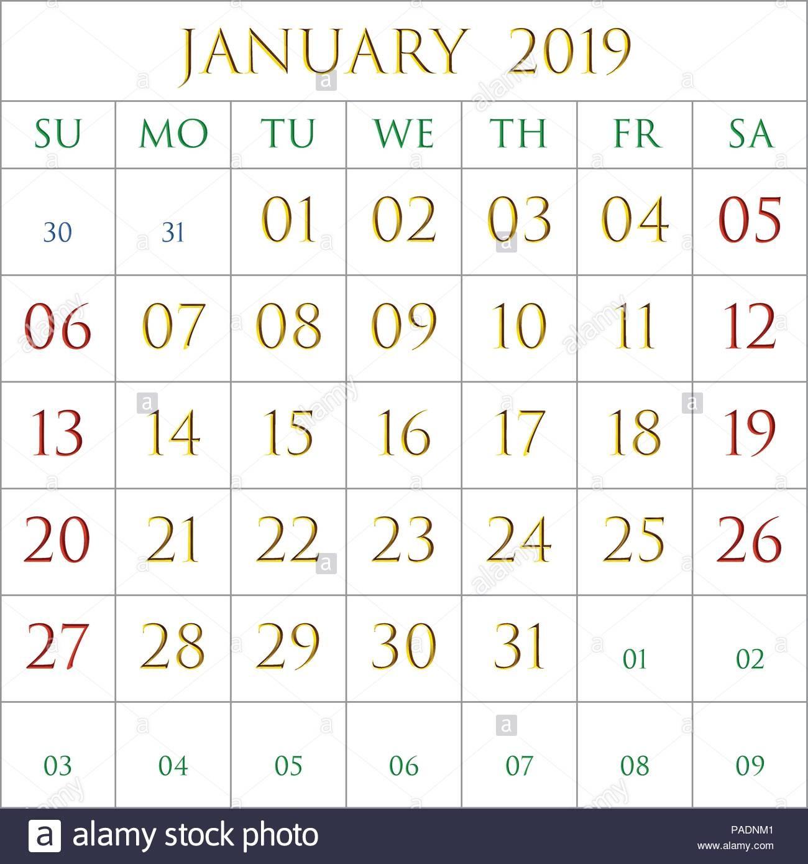 2019 calendario del mes de enero sobre fondo blanco rectangulos bordeadas de gris image