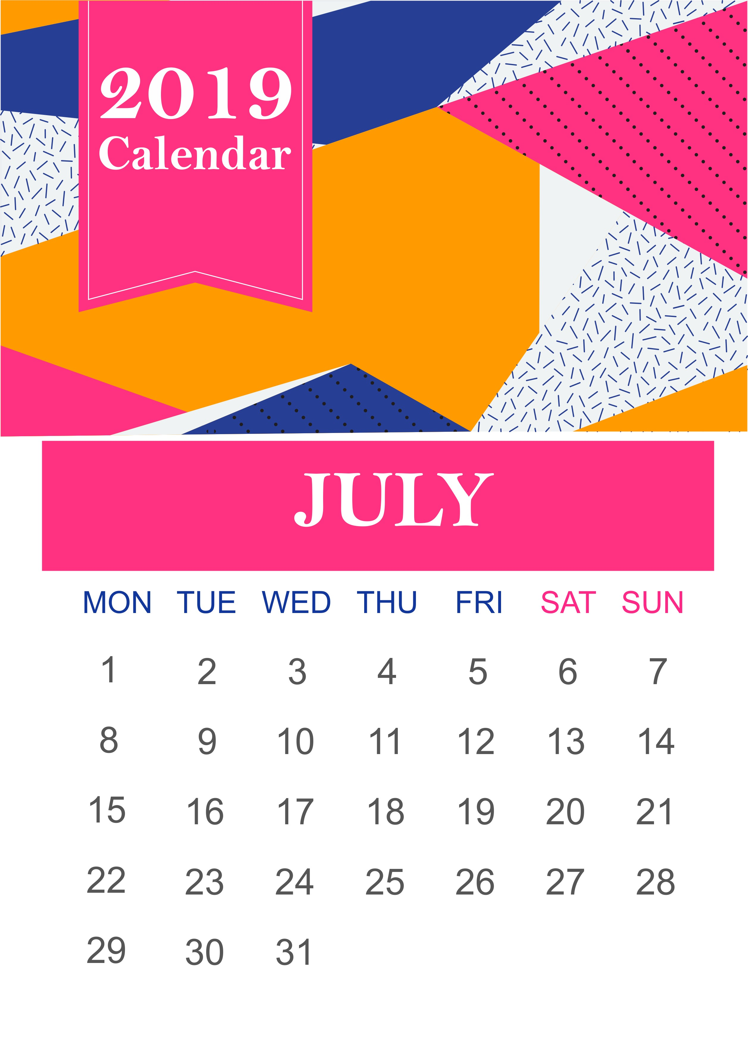 July 2019 Wall Calendar july julycalendar july2019