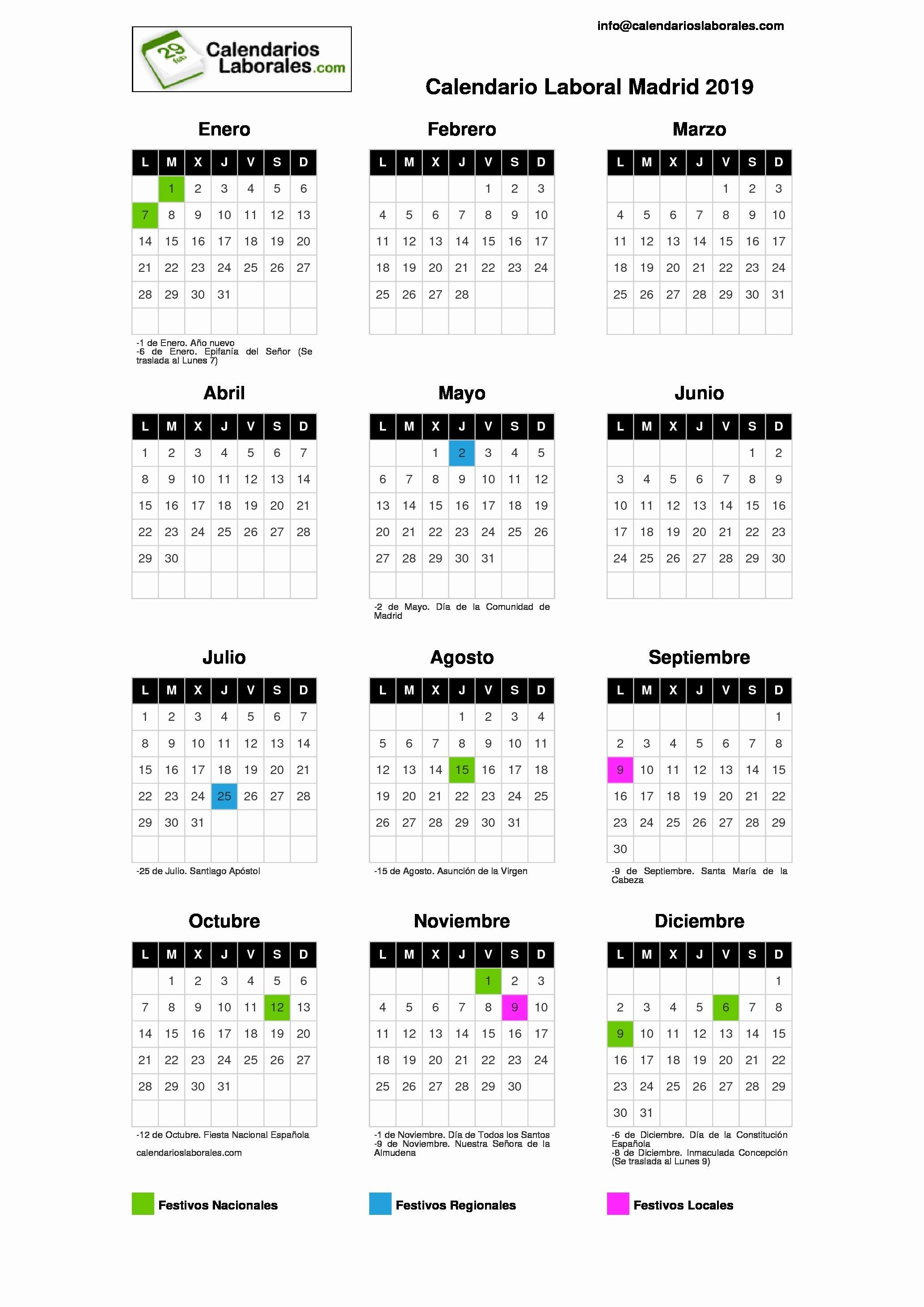 Calendario Dr 2019 Calendario Laboral Madrid 2019