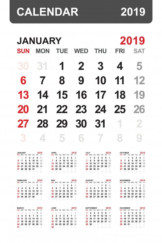 Calendario 2019 a±o Vector Premium