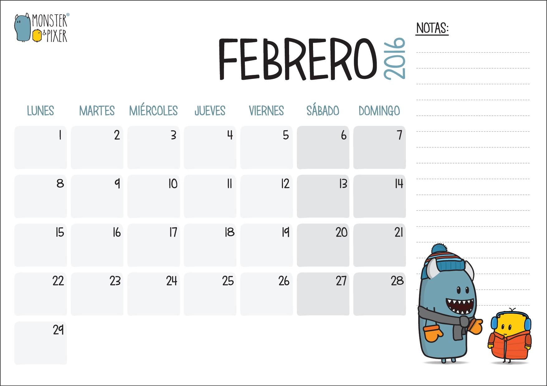 CALENDARIO FEBRERO 1