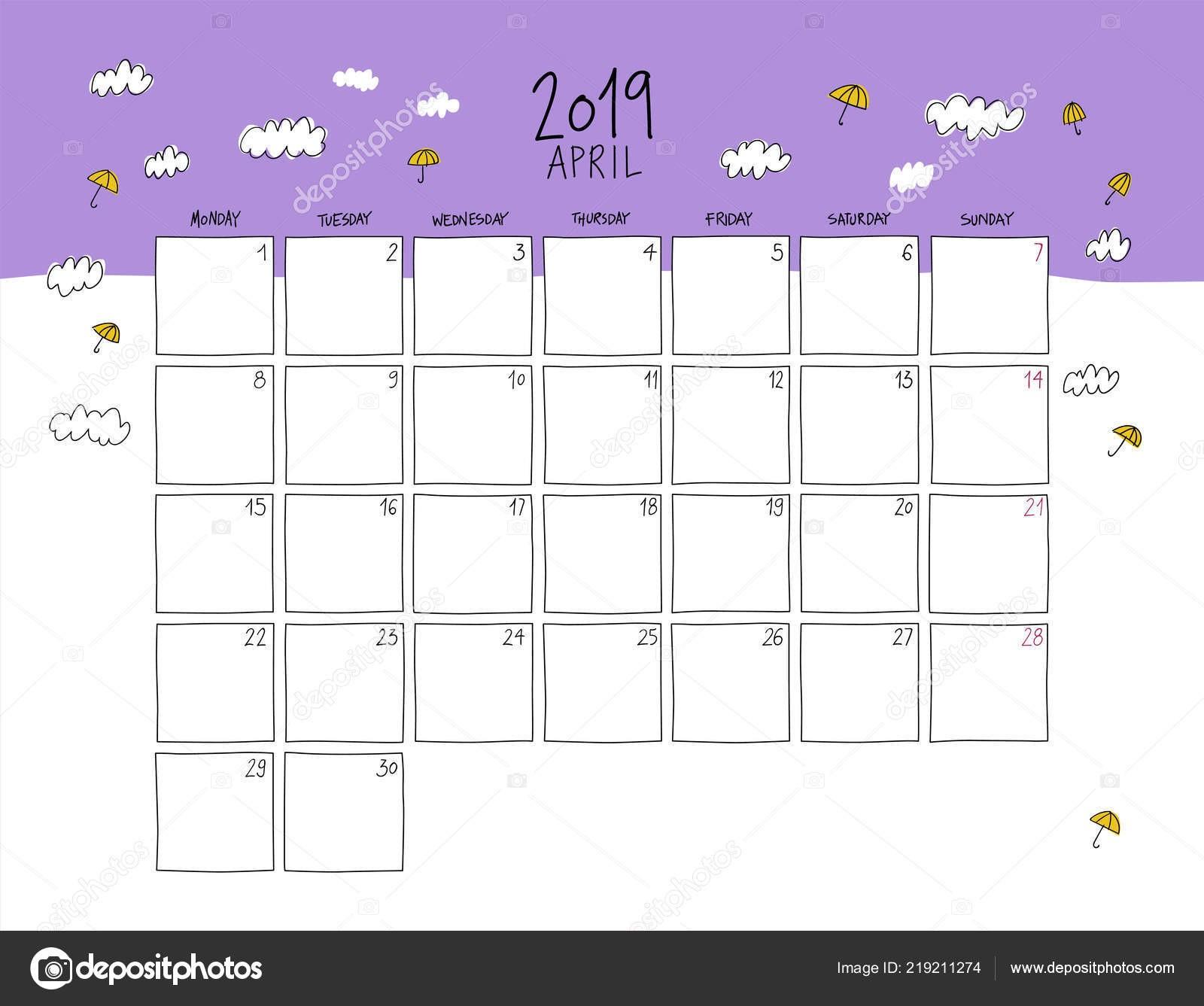 Nástěnn½ kalendář na duben 2019 Barevná skica vodorovné Å¡ablona — Vektor od LaraFields