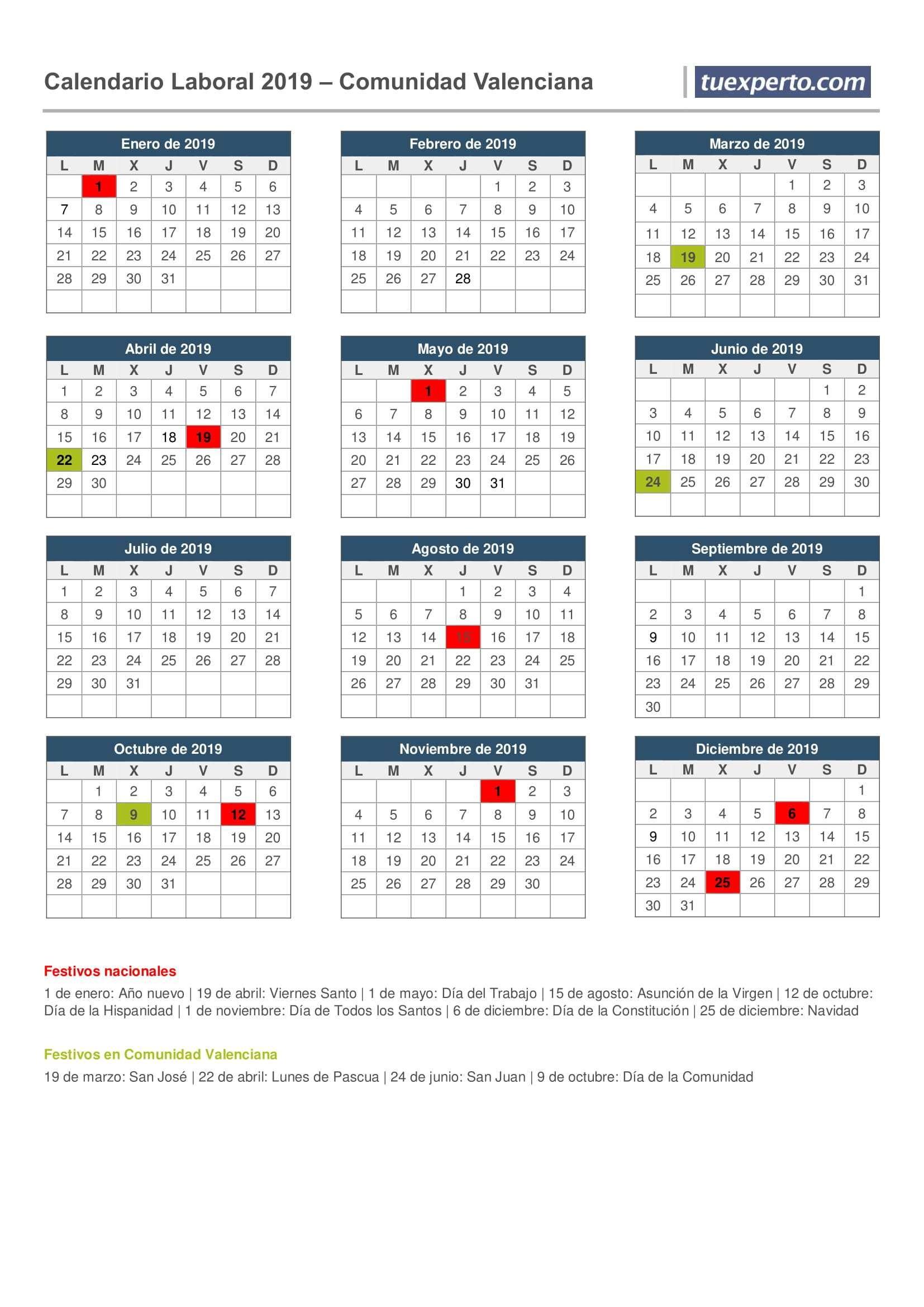 Calendarios 2019 Para 2018 Imprimir